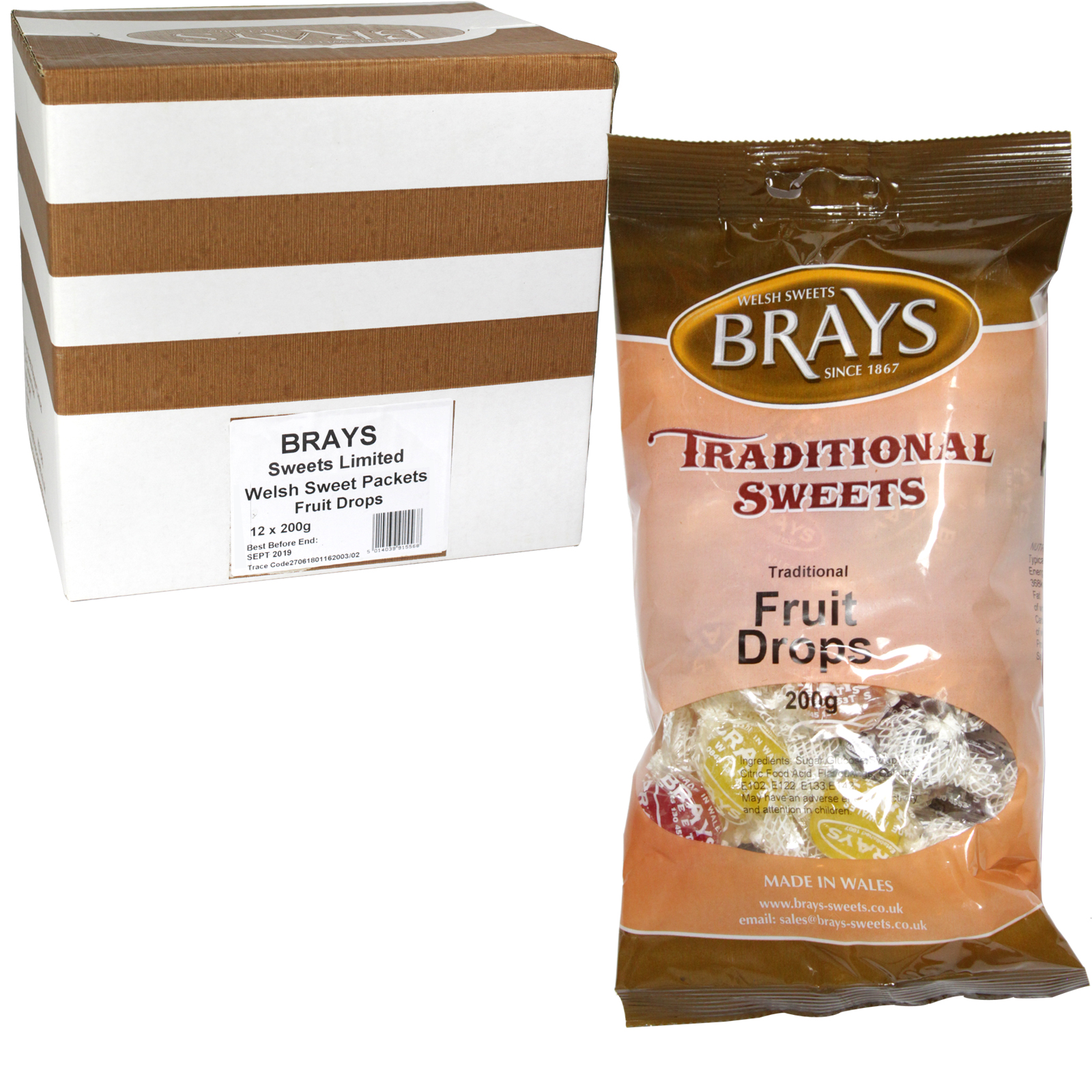BRAYS 200GM BAG FRUIT DROPS X12