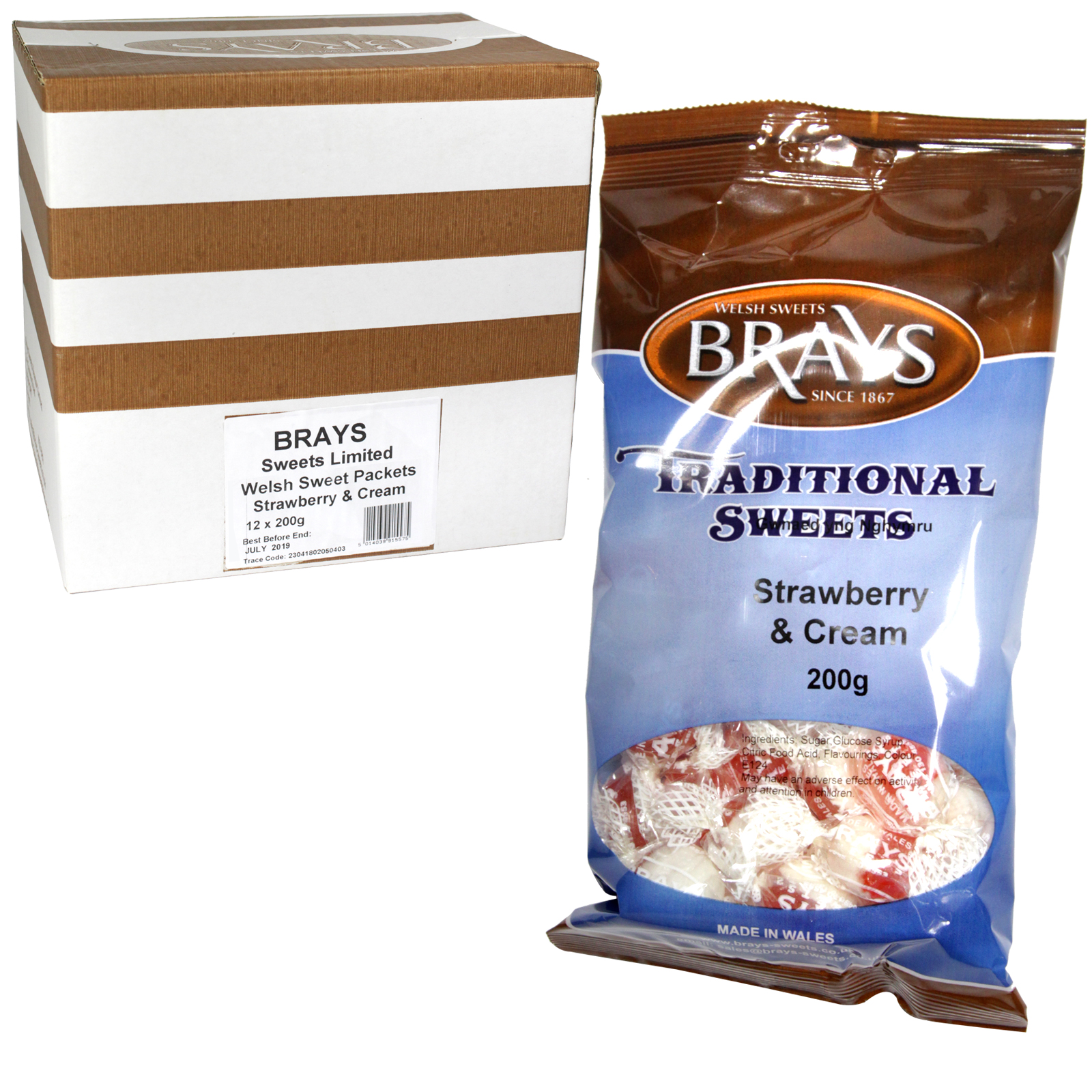 BRAYS 200GM BAG STRAWBERRY & CREAM X12