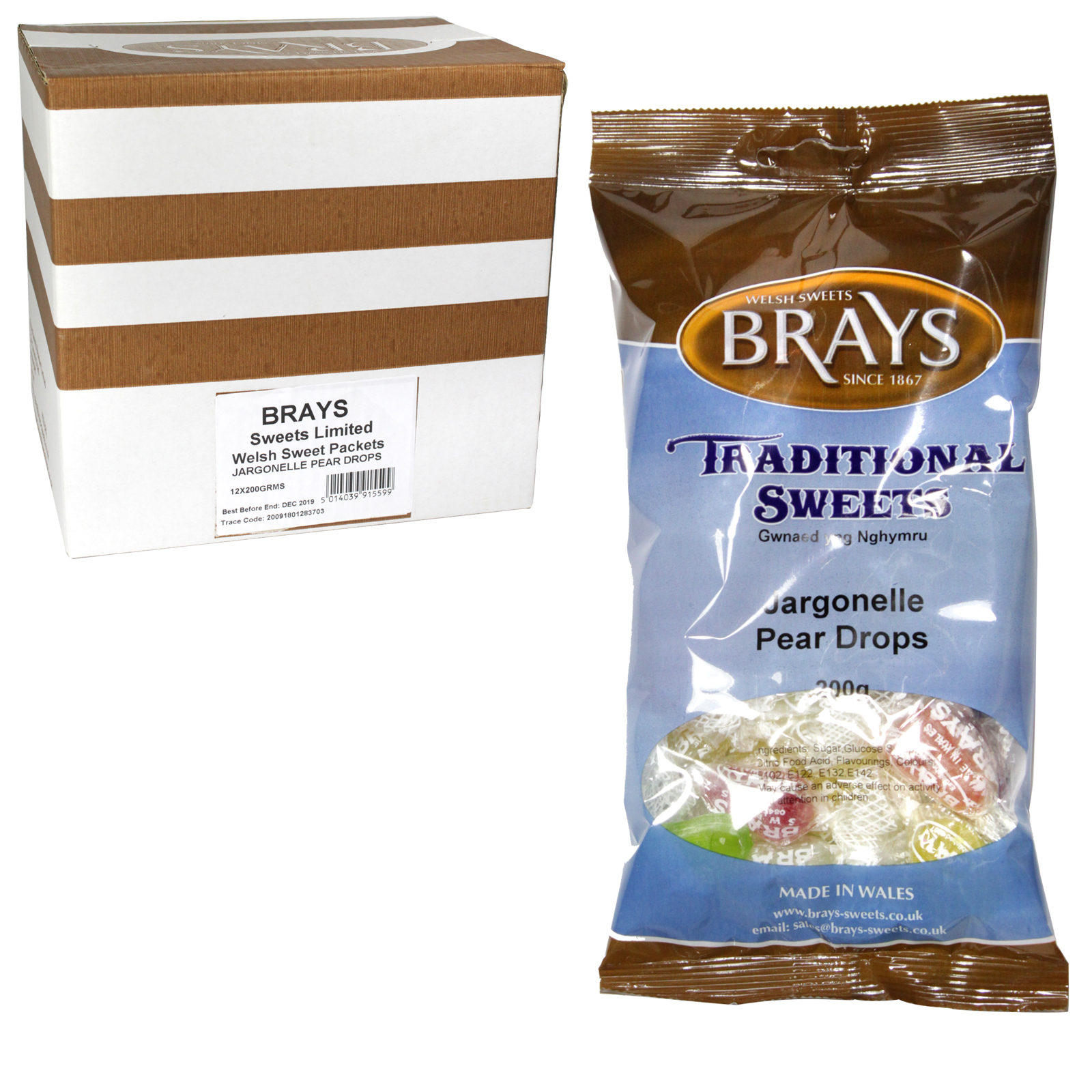 BRAYS 200GM BAG PEAR DROPS X12