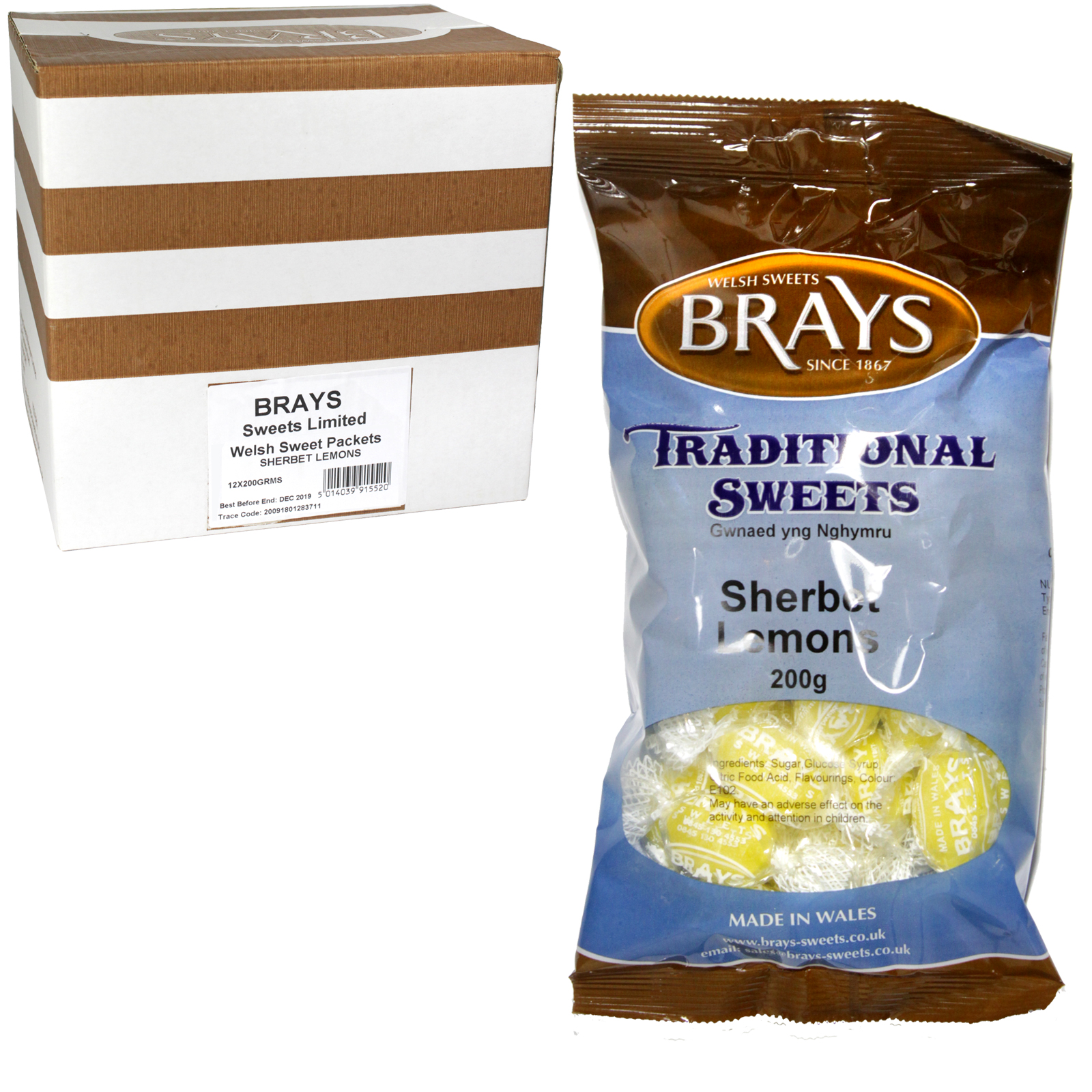 BRAYS 200GM BAG SHERBERT LEMONS X12