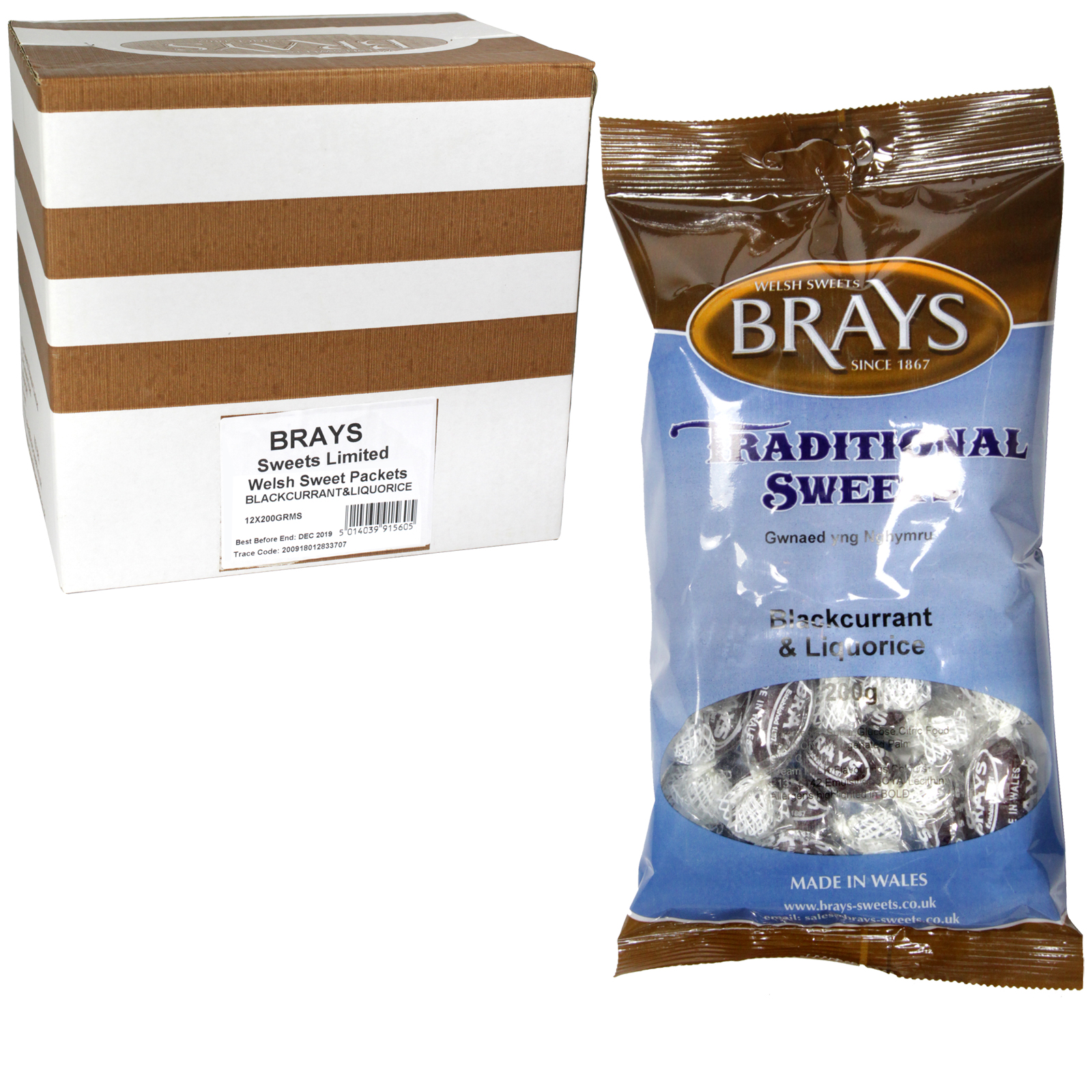 BRAYS 200GM BAG BLACKCURRANT LIQUORICE X12
