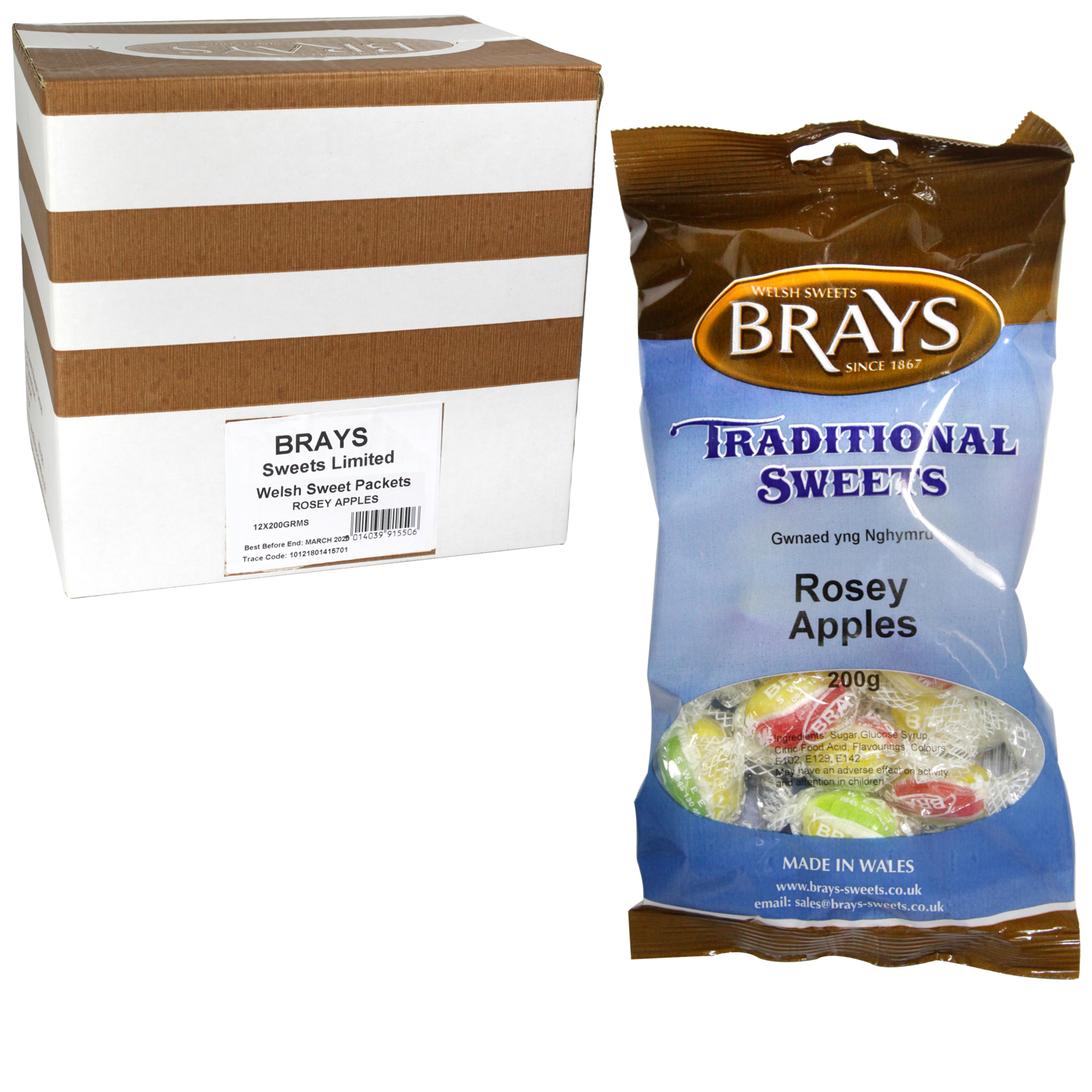 BRAYS 200GM BAG ROSEY APPLES X12