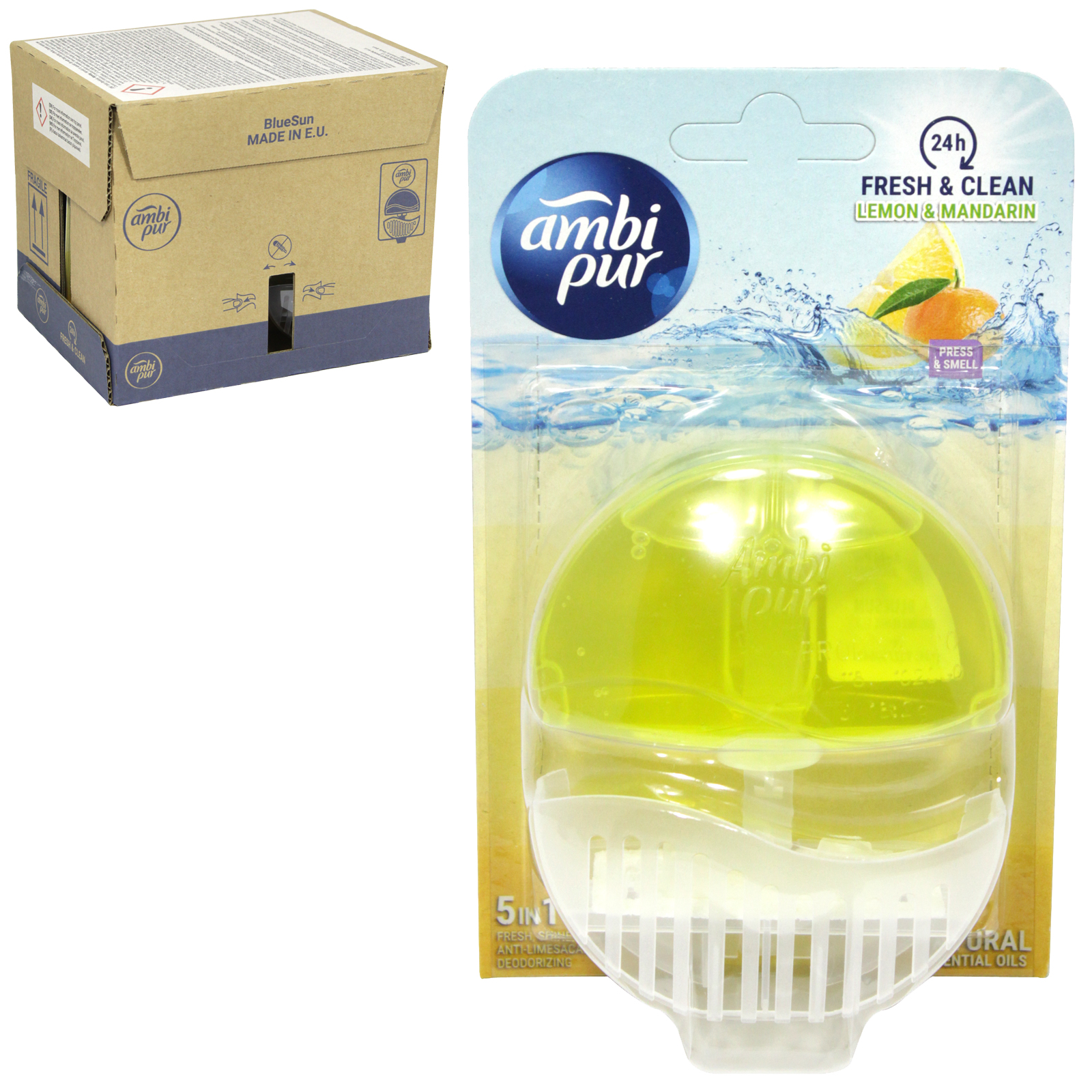 AMBI-PUR 24HR FRESH+CLEAN 5IN1 LIQUID RIM BLOCK 55ML LEMON+MANDARIN X6