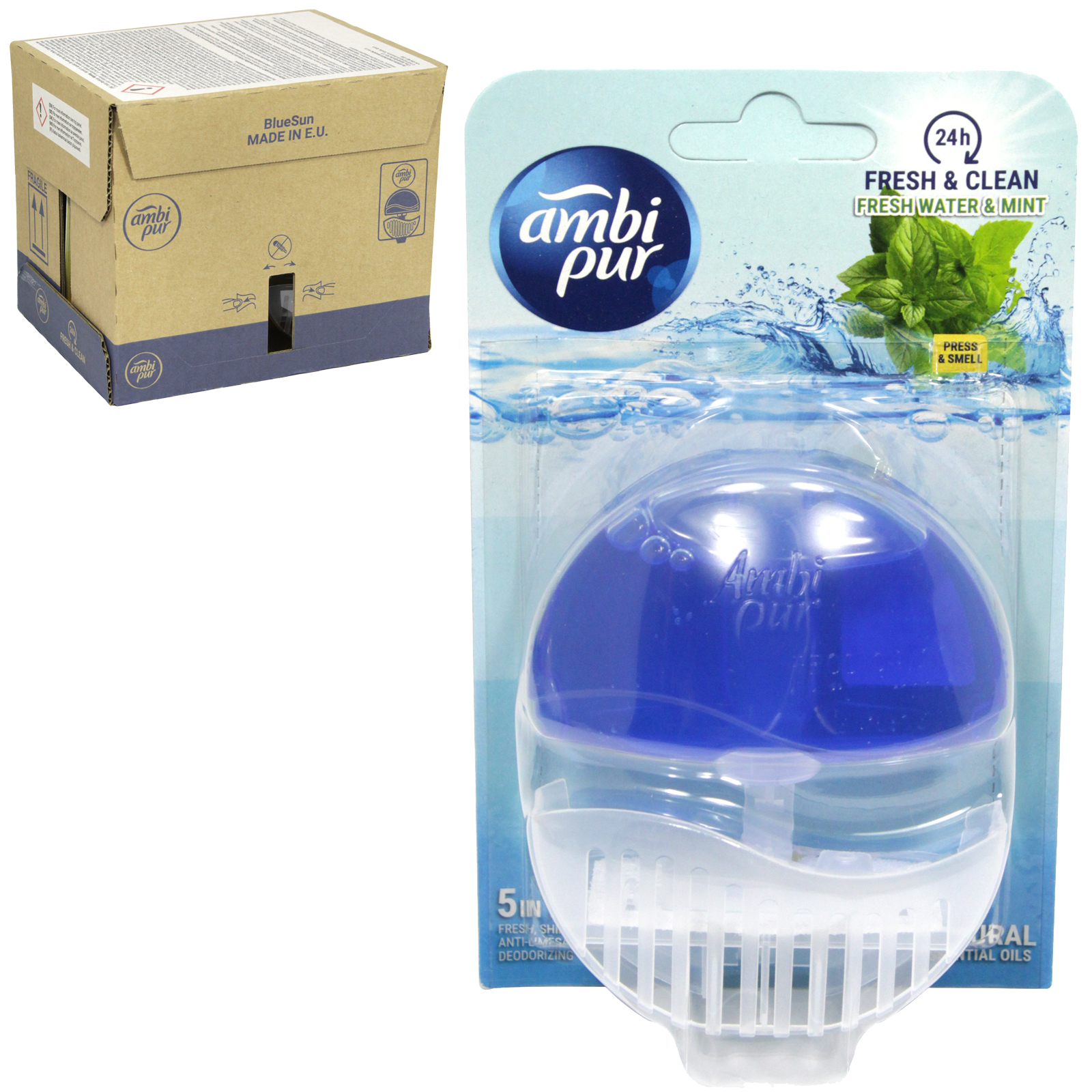 AMBI-PUR 24HR FRESH+CLEAN 5IN1 LIQUID RIM BLOCK 55ML FRESH WATER+MINT X6