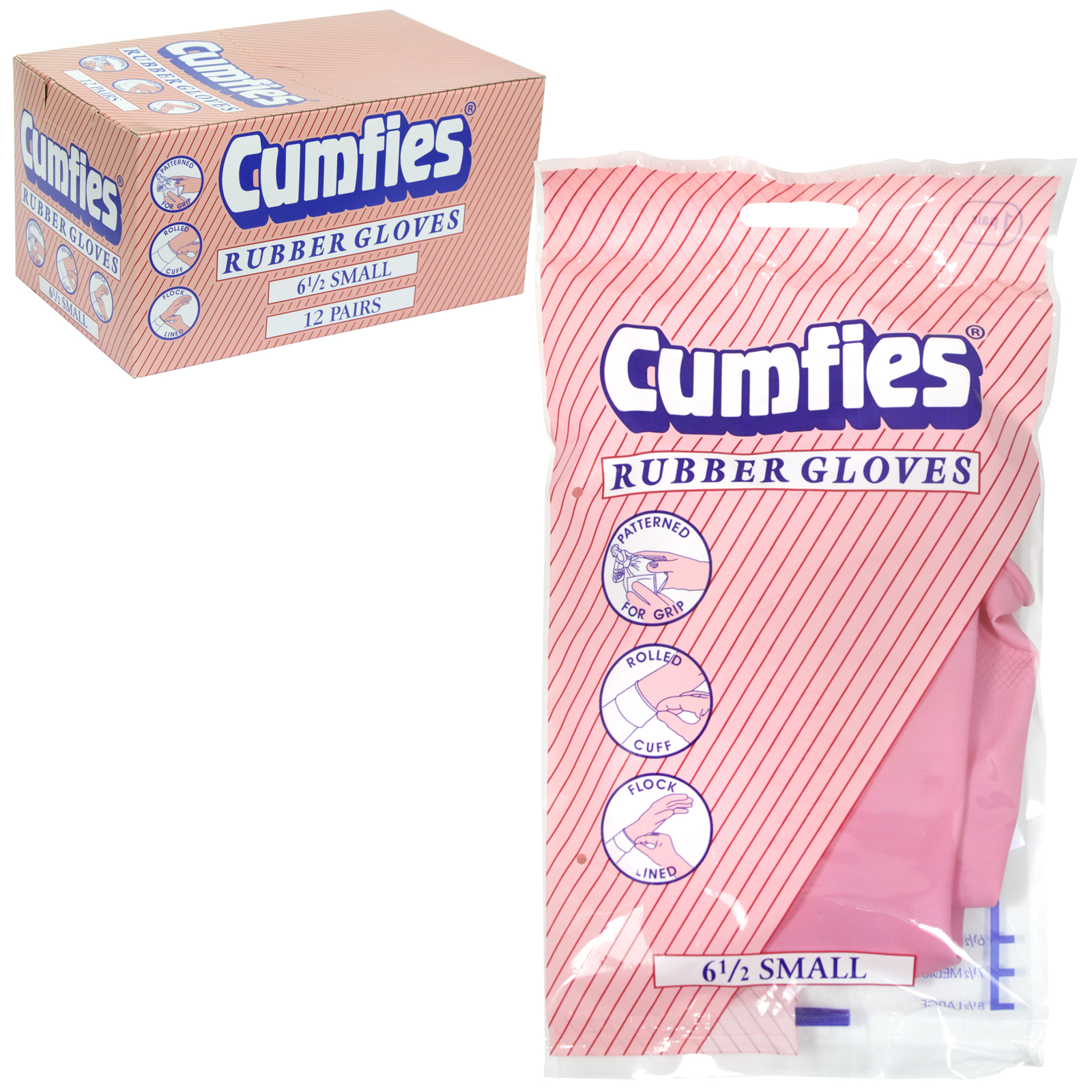 CUMFIES RUBBER GLOVES SMALL X12
