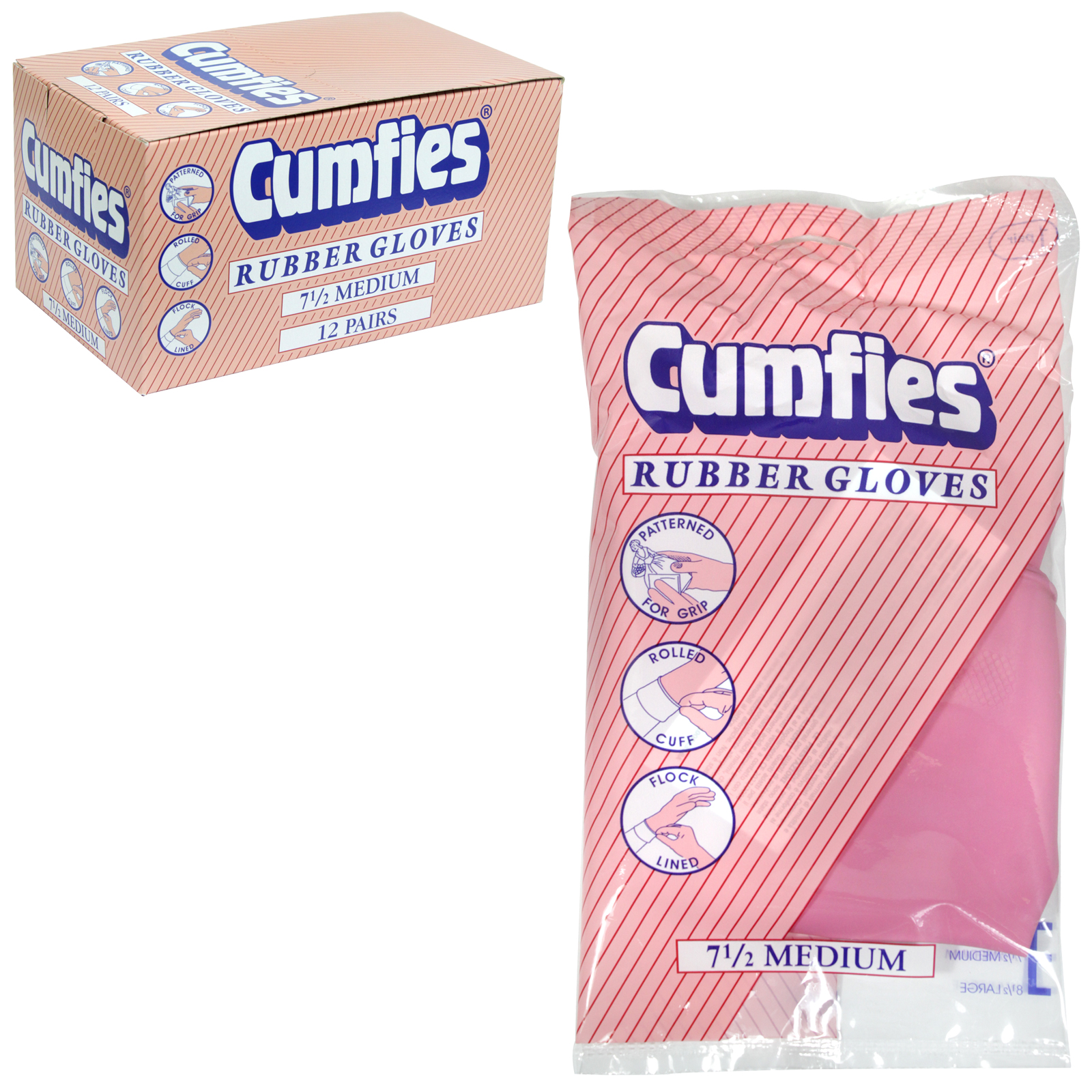 CUMFIES RUBBER GLOVES MEDIUM X12