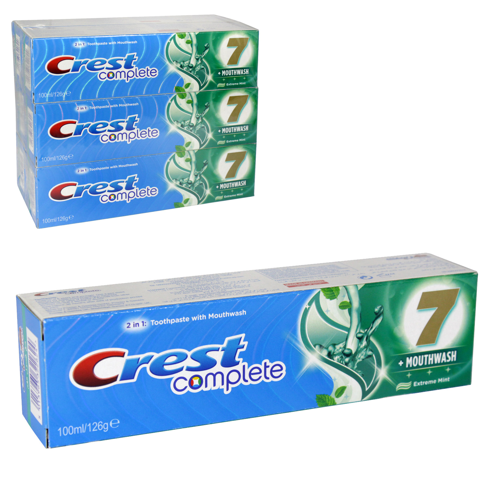 CREST COMPLETE+MOUTHWASH TOOTHPASTE 100ML EXTREME MINT