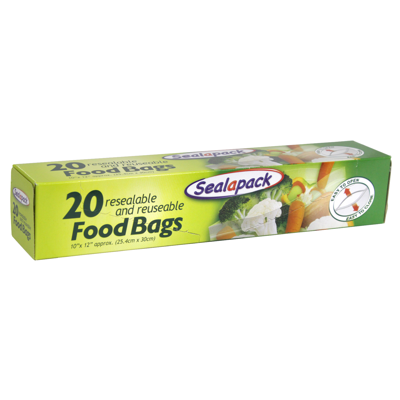 SEALAPACK RESEALABLE AND REUSEABLE FOOD BAGS 25.4CMX30CM