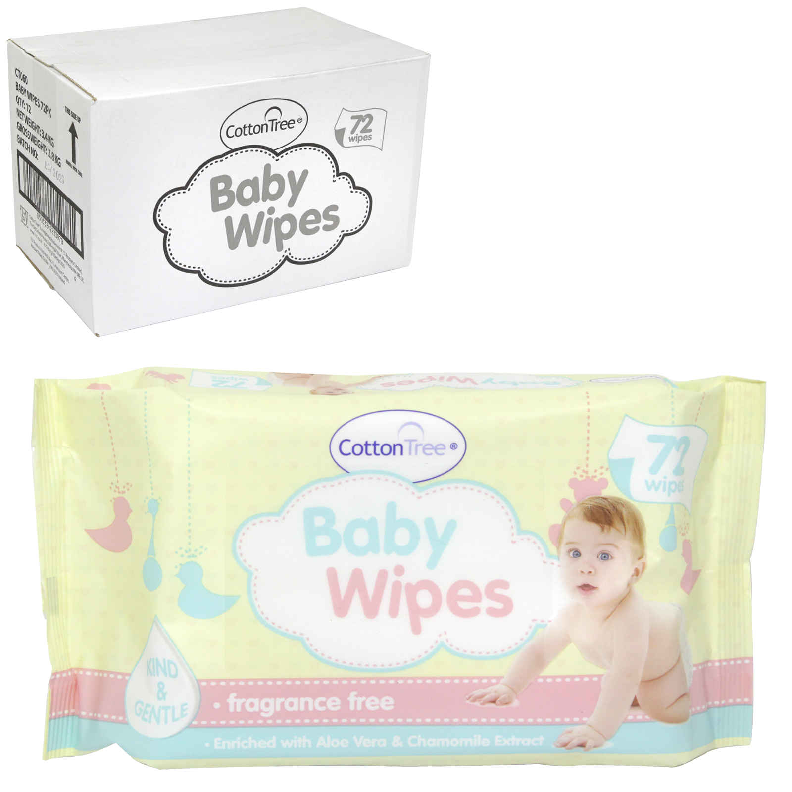 COTTON TREE 72 BABY WIPES FRAG FREE X12
