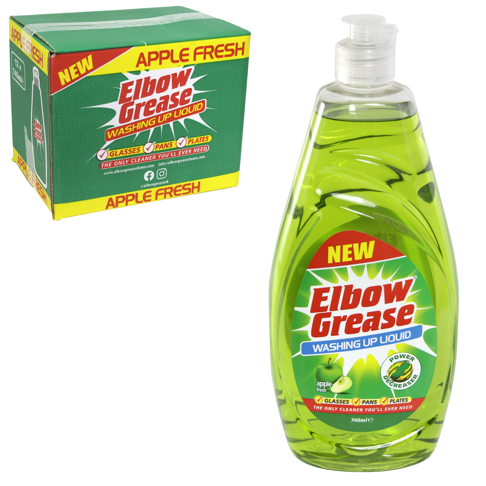 151 ELBOW GREASE WASH UP 740ML APPLE FRESH X12