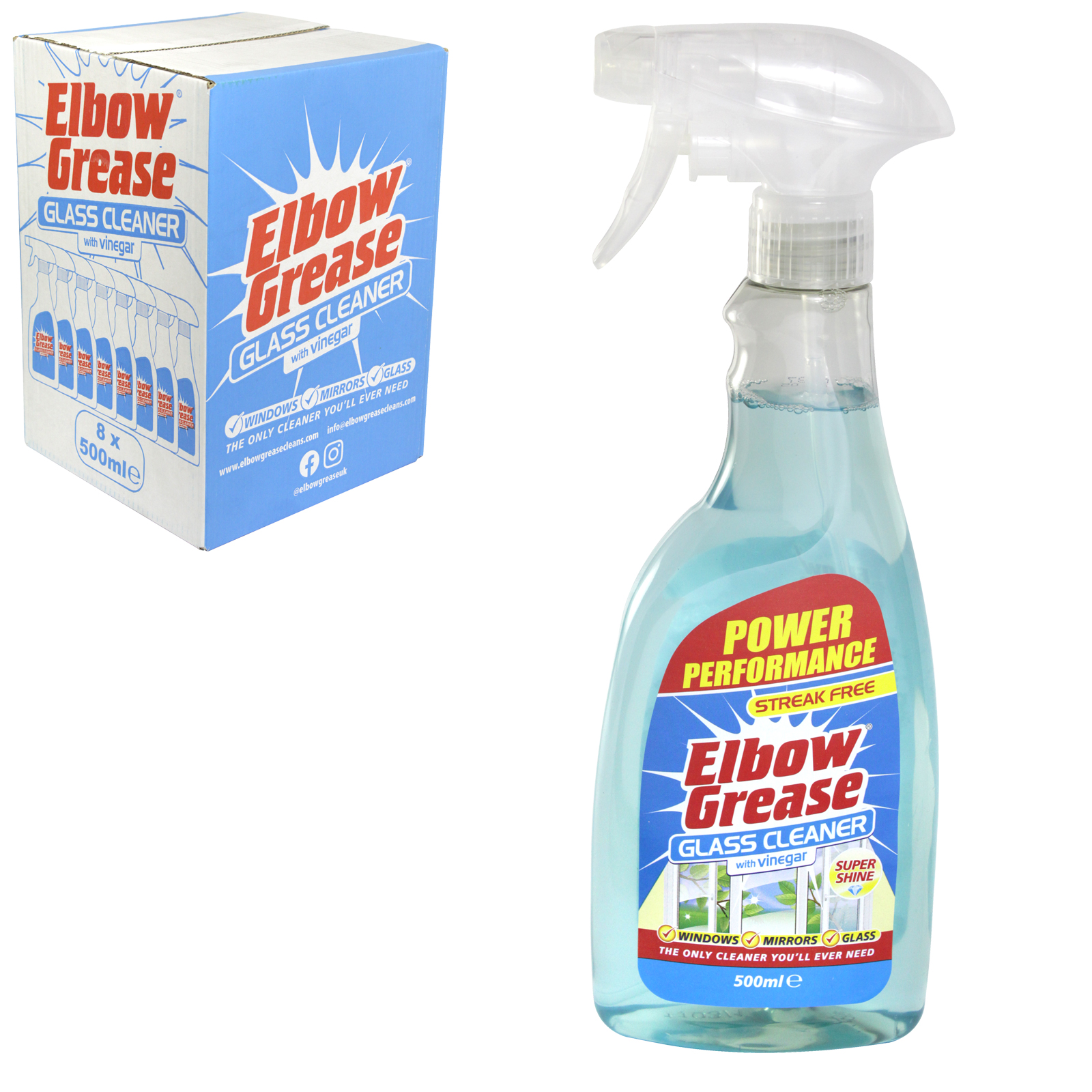 151 ELBOW GREASE 500ML GLASS CLEANER WITH VINEGAR X8