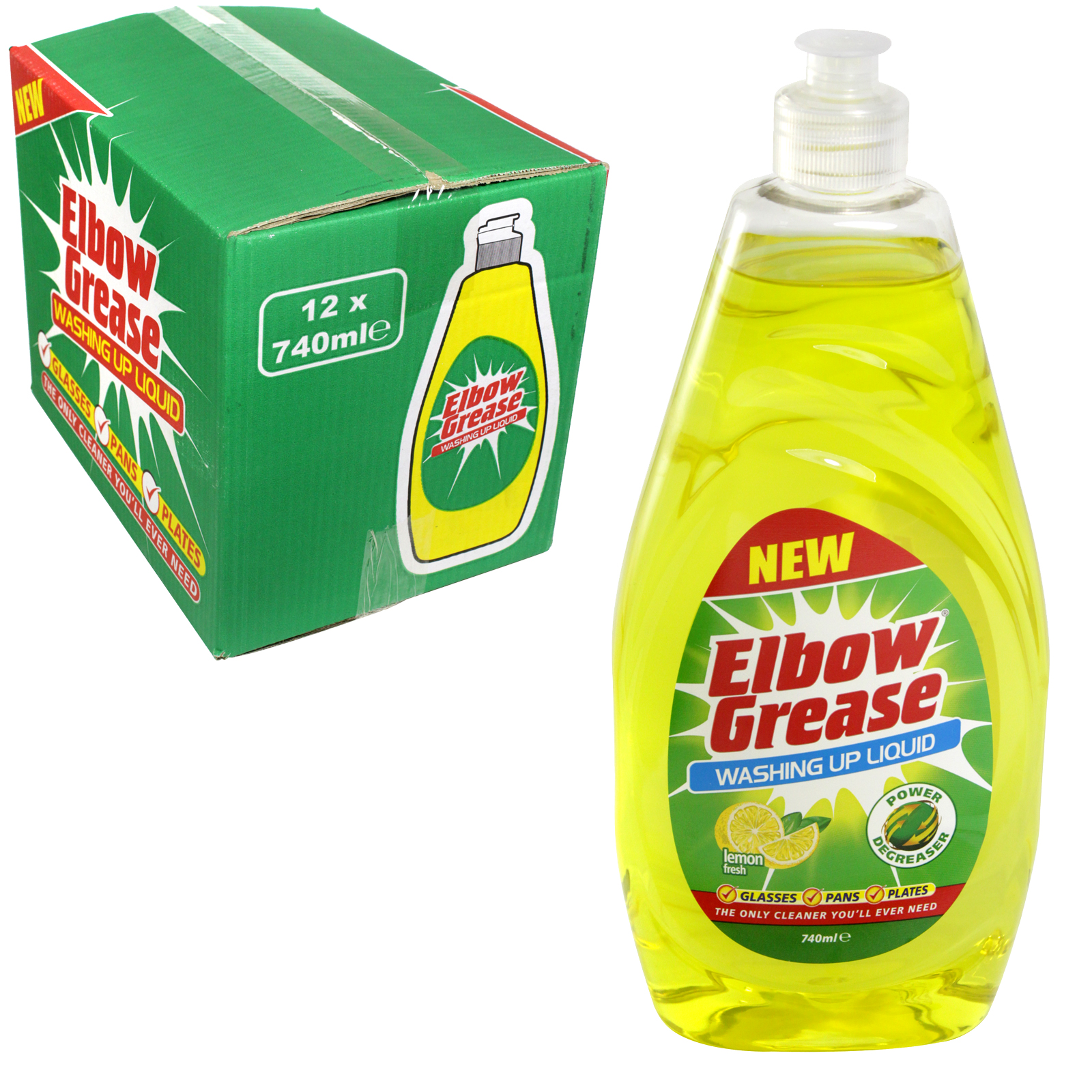 ELBOW GREASE WASH UP 740ML LEMON FRESH X12