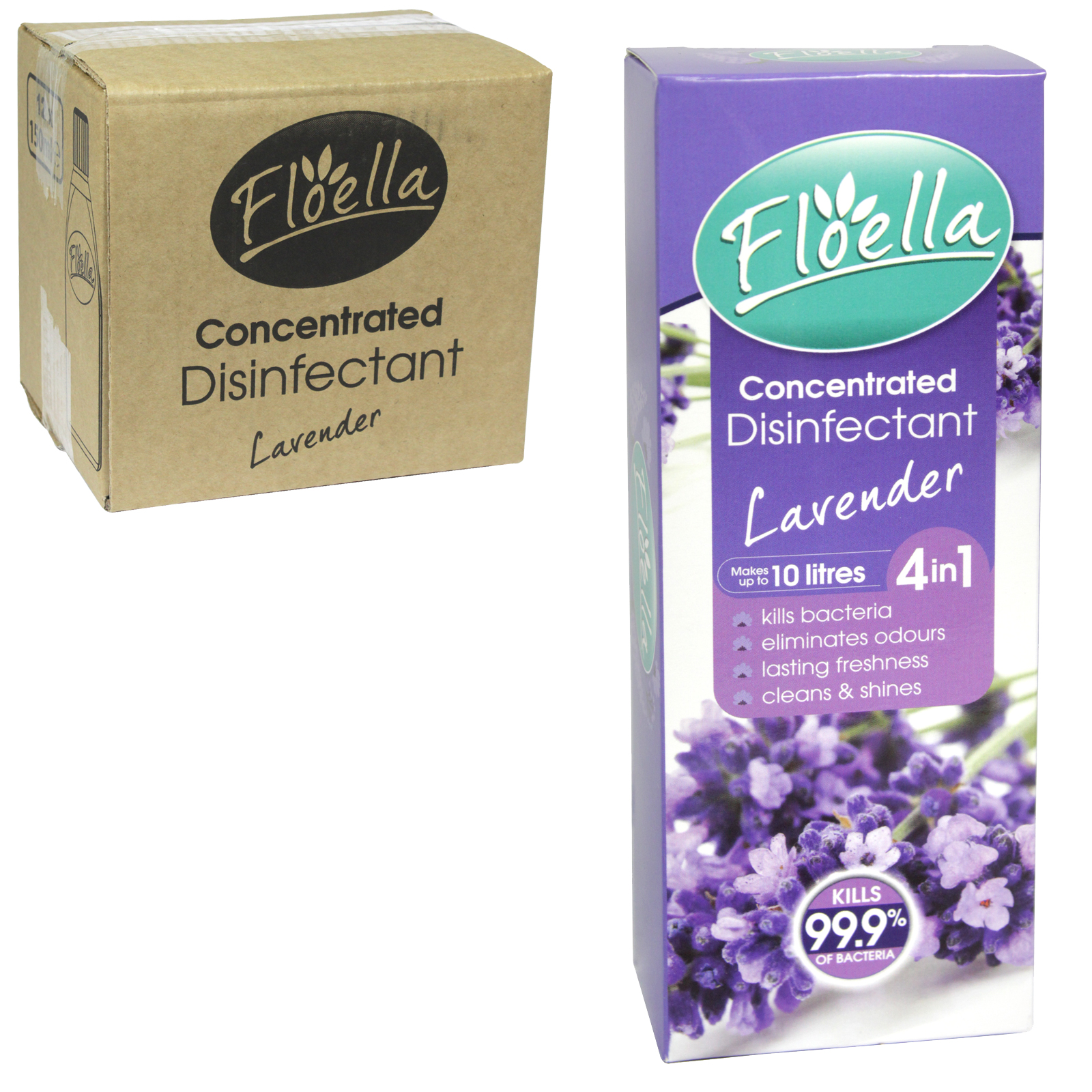 FLOELLA 4IN1 CONCENTRATE DISINFECTANT 150ML MAKES 10 LITRES LAVENDER X12