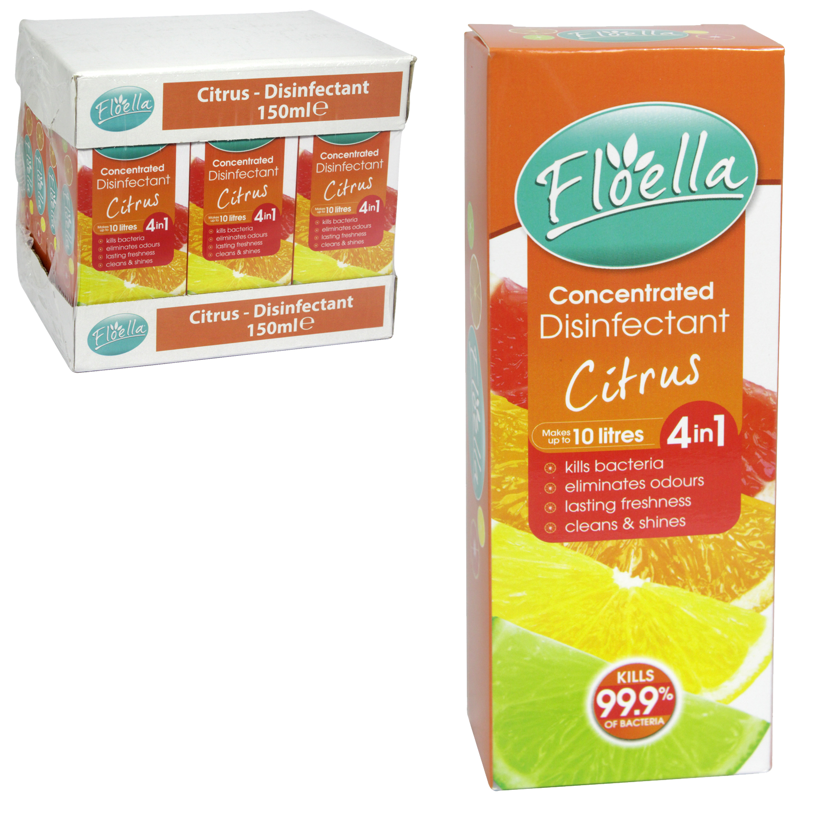 FLOELLA 4IN1 CONCENTRATE DISINFECTANT 150ML MAKES 10 LITRES CITRUS X12