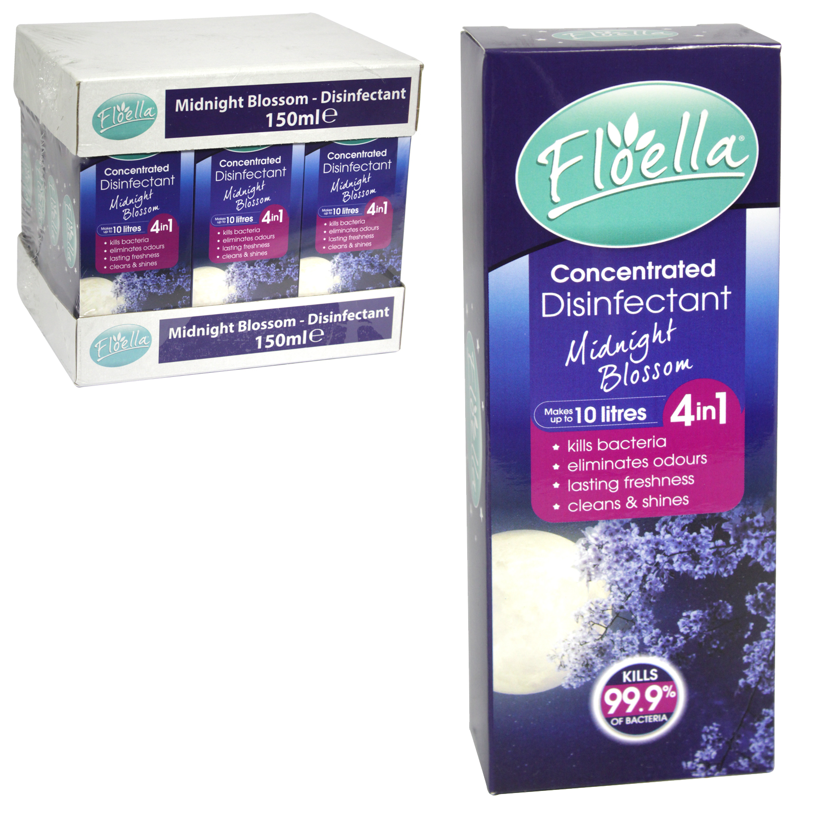 FLOELLA 4IN1 CONCENTRATE DISINFECTANT 150ML MAKES 10 LITRES MIDNIGHT BLOSSOM X12
