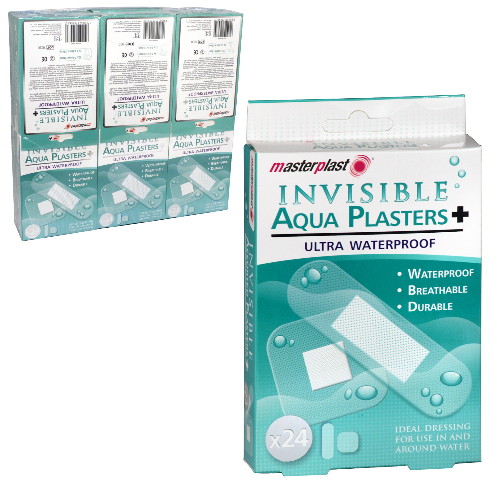 MASTERPLAST 24 INVISIBLE AQUA PLASTERS ULTRA WATERPROOF X12