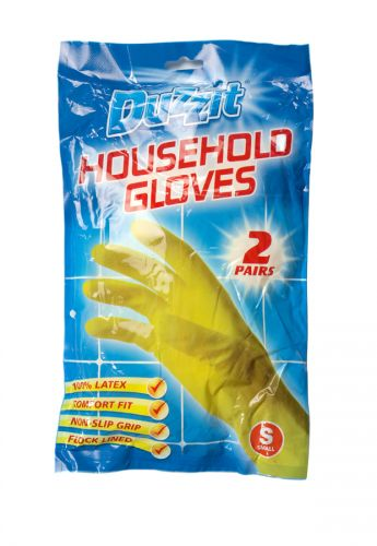 DUZZIT RUBBER GLOVES 2PK SMALL X12