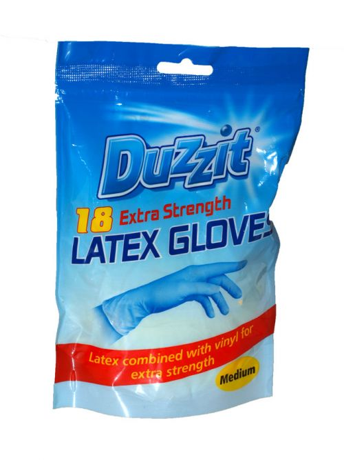 DUZZIT 18PK LATEX GLOVES MEDIUM X24