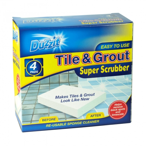 DUZZIT TILE+GROUT 4PK SUPER SCRUBBER