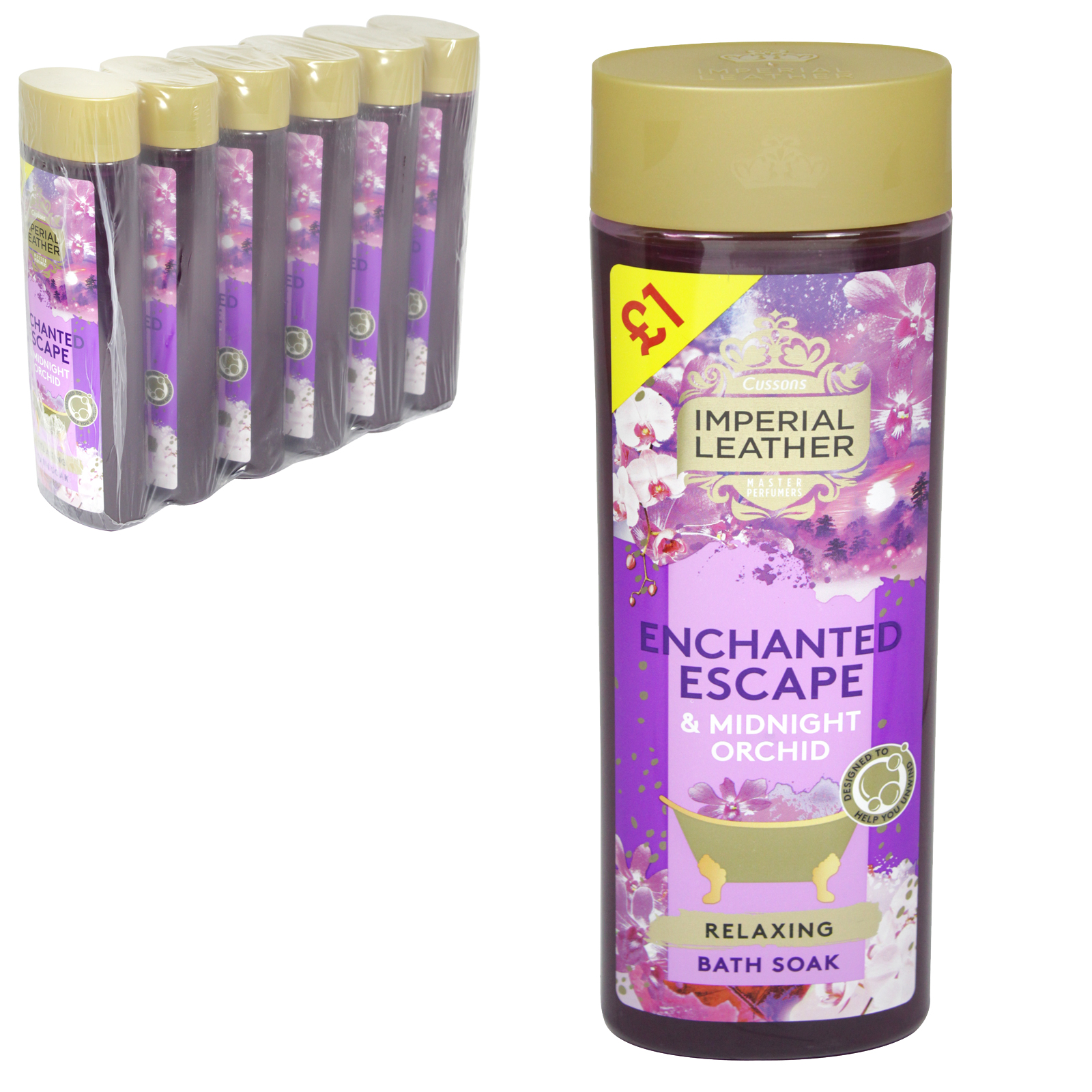 IMPERIAL LEATHER CREME BATH 500ML RELAXING ORCHID & YLANG YLANG  £1 X6