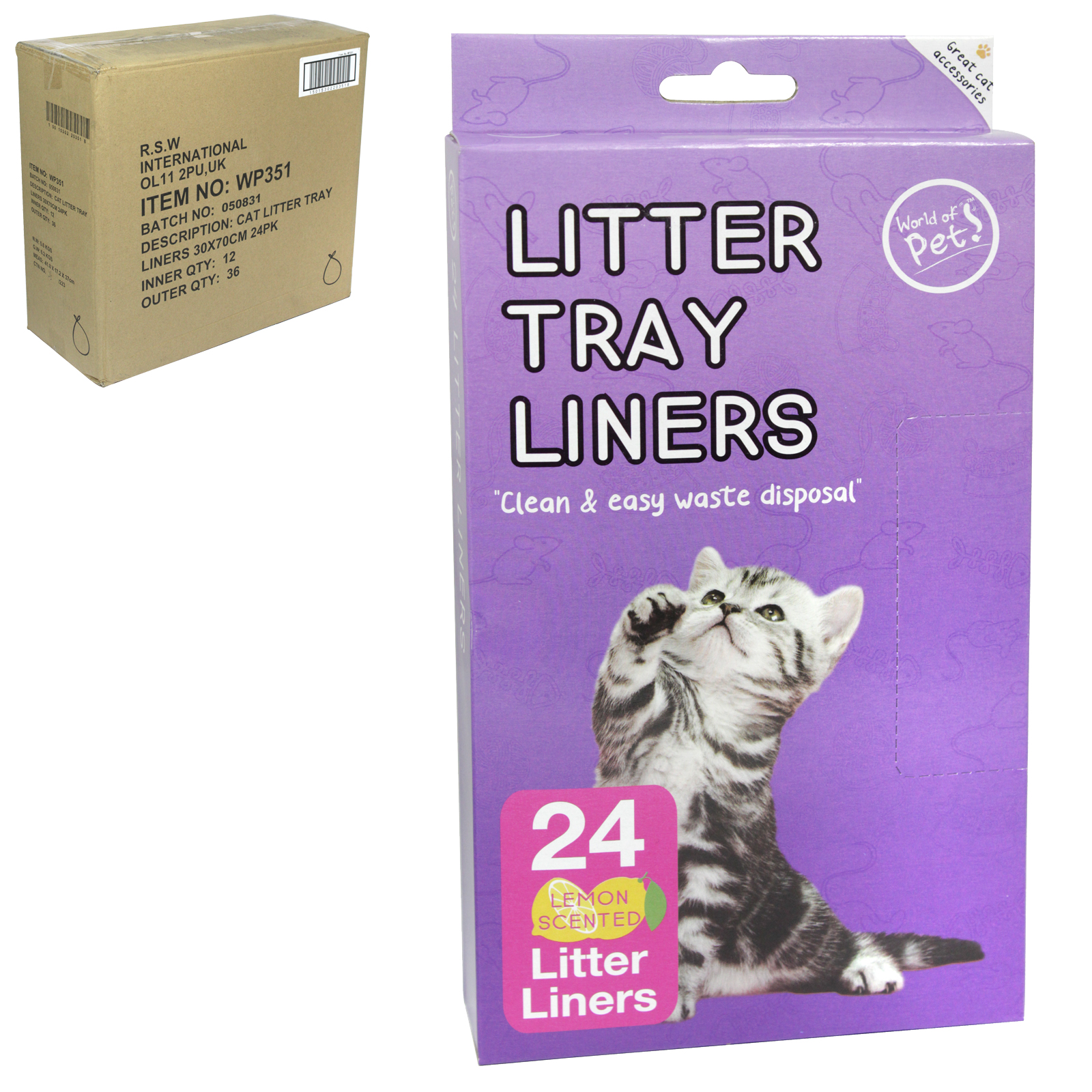 WORLD OF PETS 24 LITTER LINERS X12