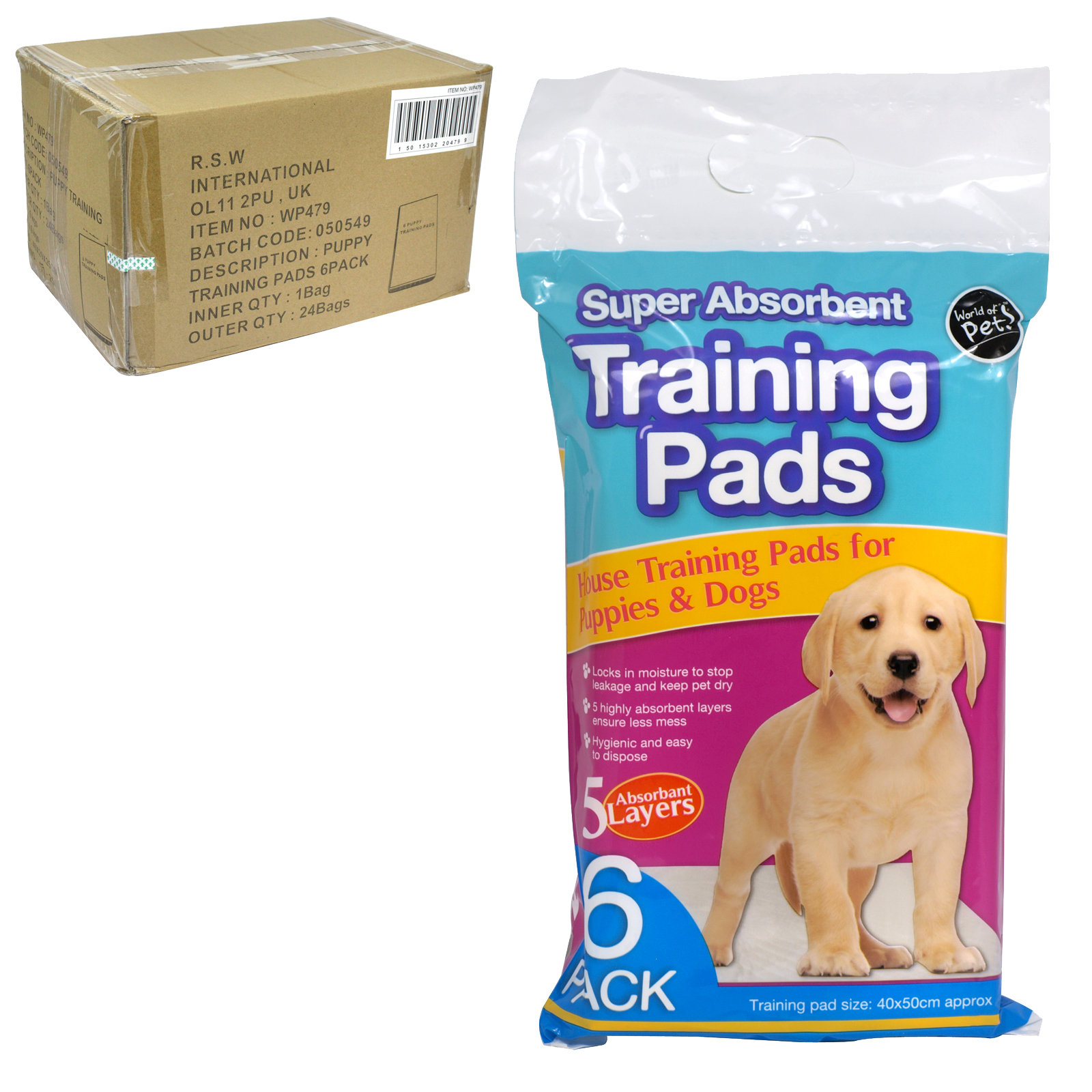 WORLD OF PETS 6 PUPPY TRAINING PADS X24