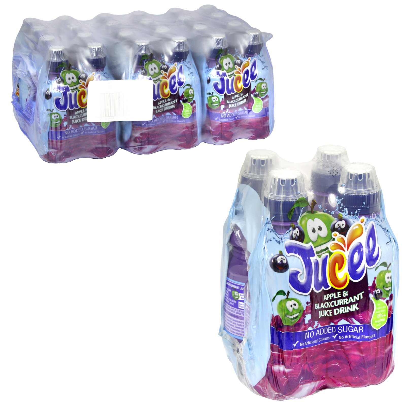 JUCEE APPLE & BLACKCURRANT NO ADDED SUGAR JUICE DRINK 4 PACK 250ML X6