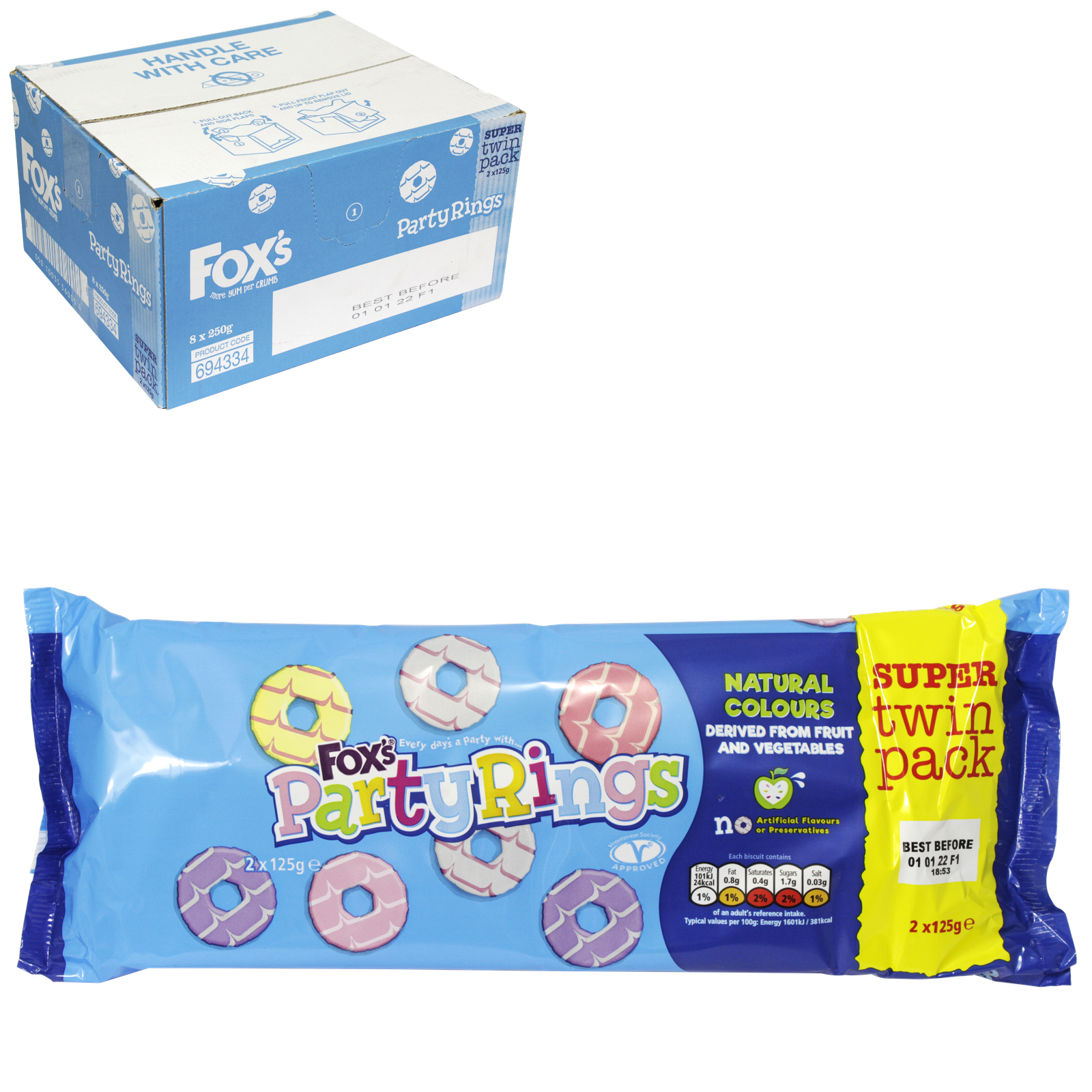 FOX'S PARTY RING BISCUIT TWIN PACK 250GM X8