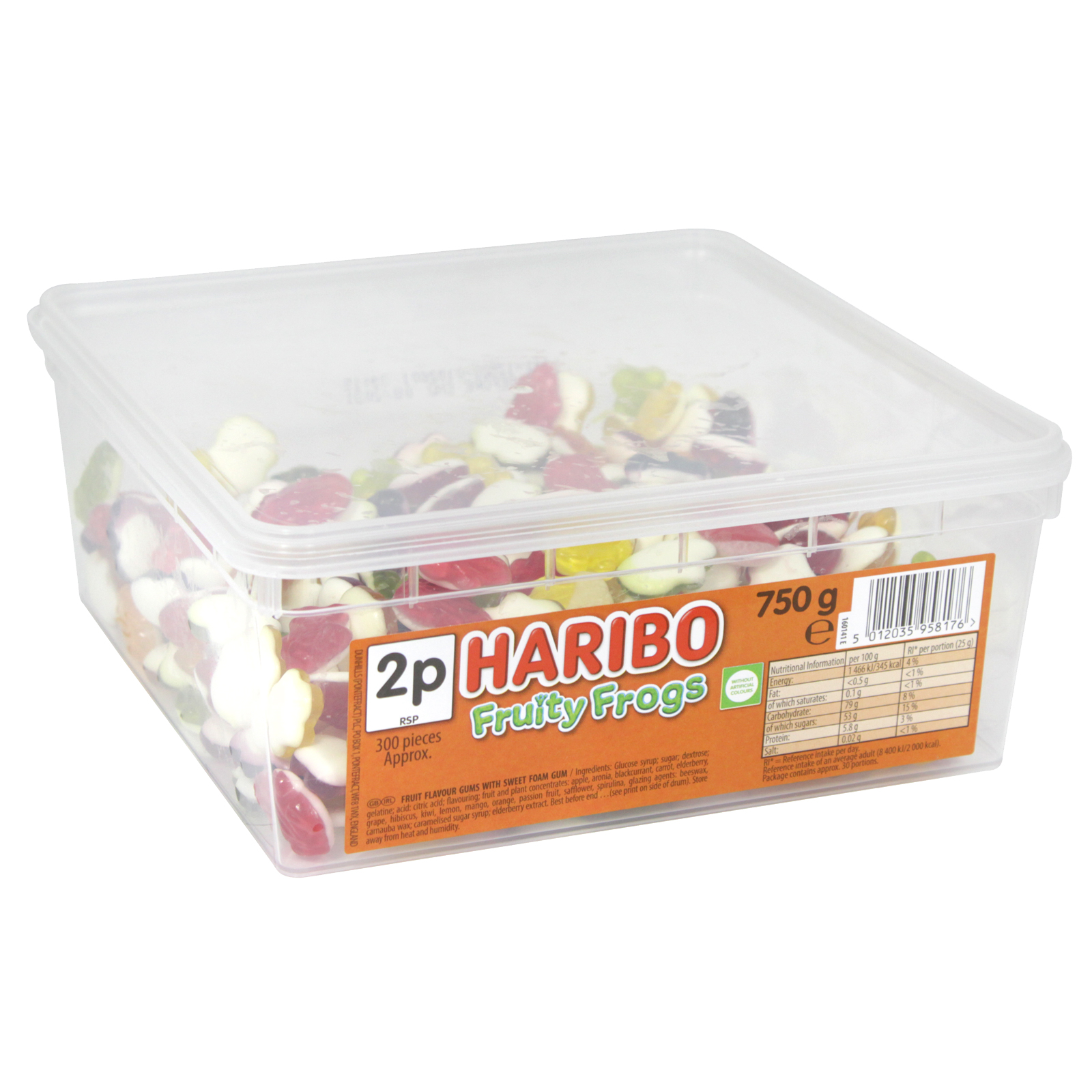 HARIBO FRUITY FROGS DRUM 750G APPROX 300 PIECES