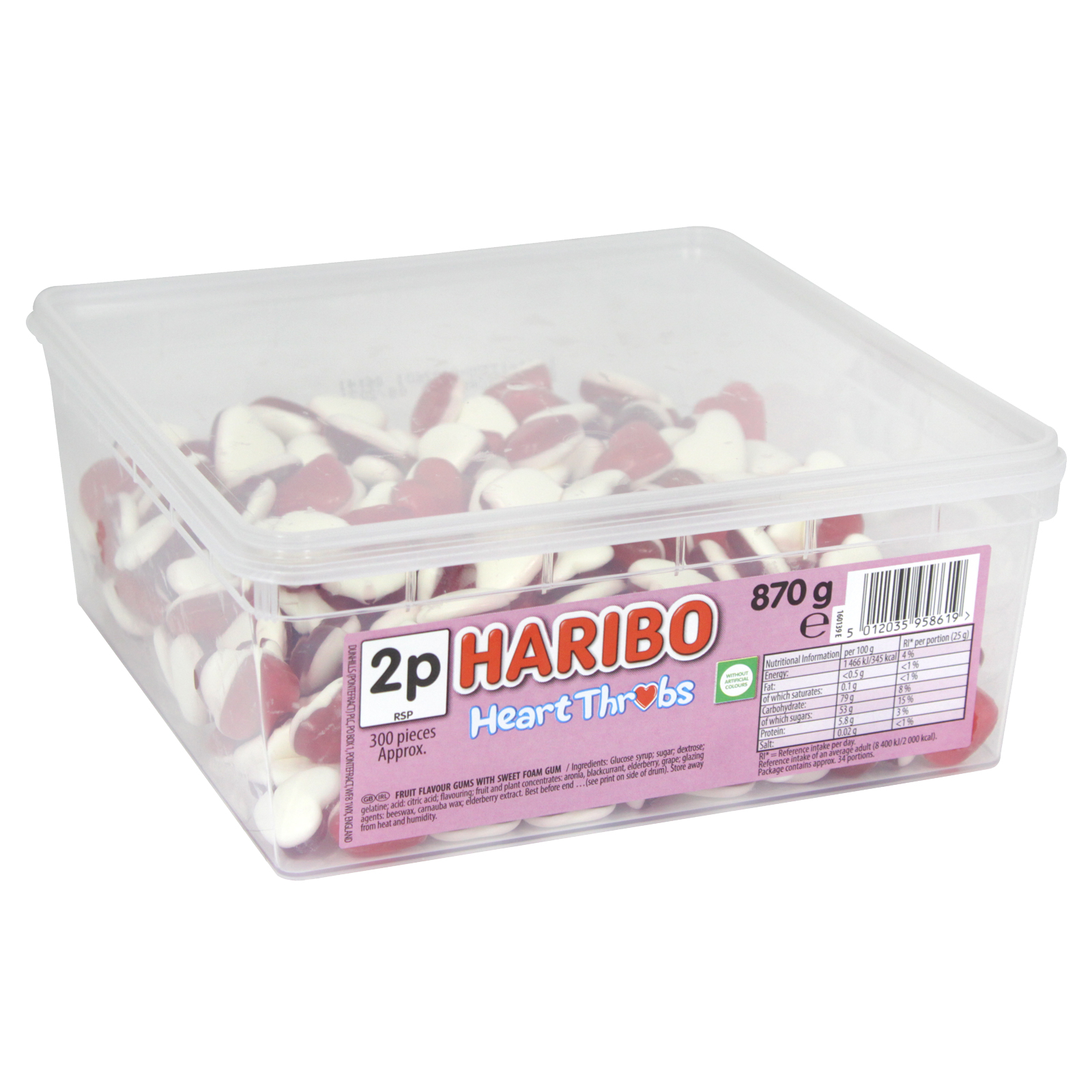 HARIBO HEART THROBS DRUM 870G 300 PIECES APPROX