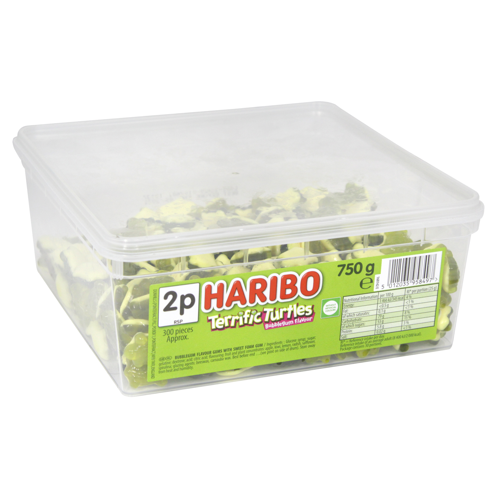 HARIBO TERRIFIC TURTLES DRUM 750G APPROX 300 PIECES