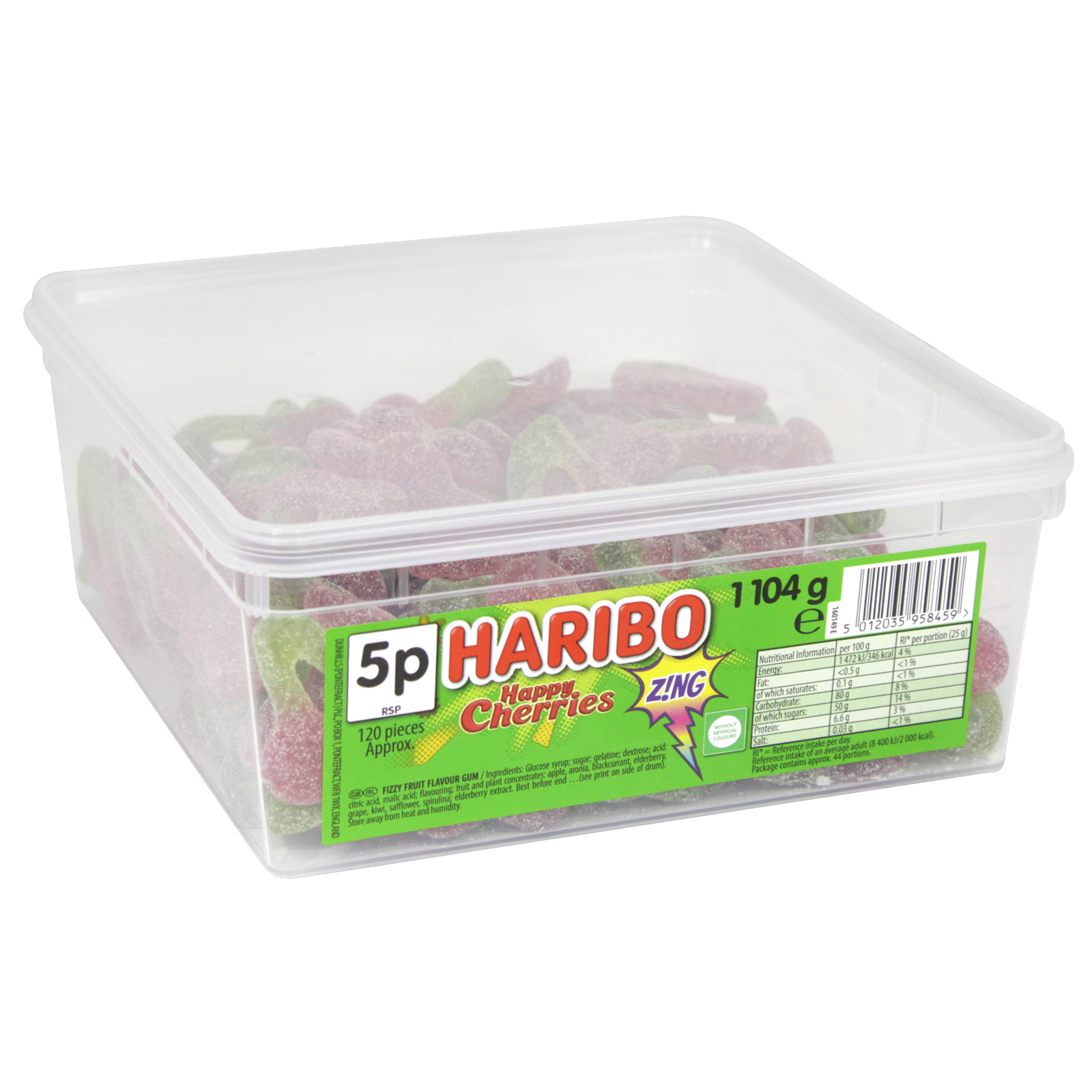 HARIBO HAPPY CHERRIES ZING DRUM 1104G APPROX 120 PIECES