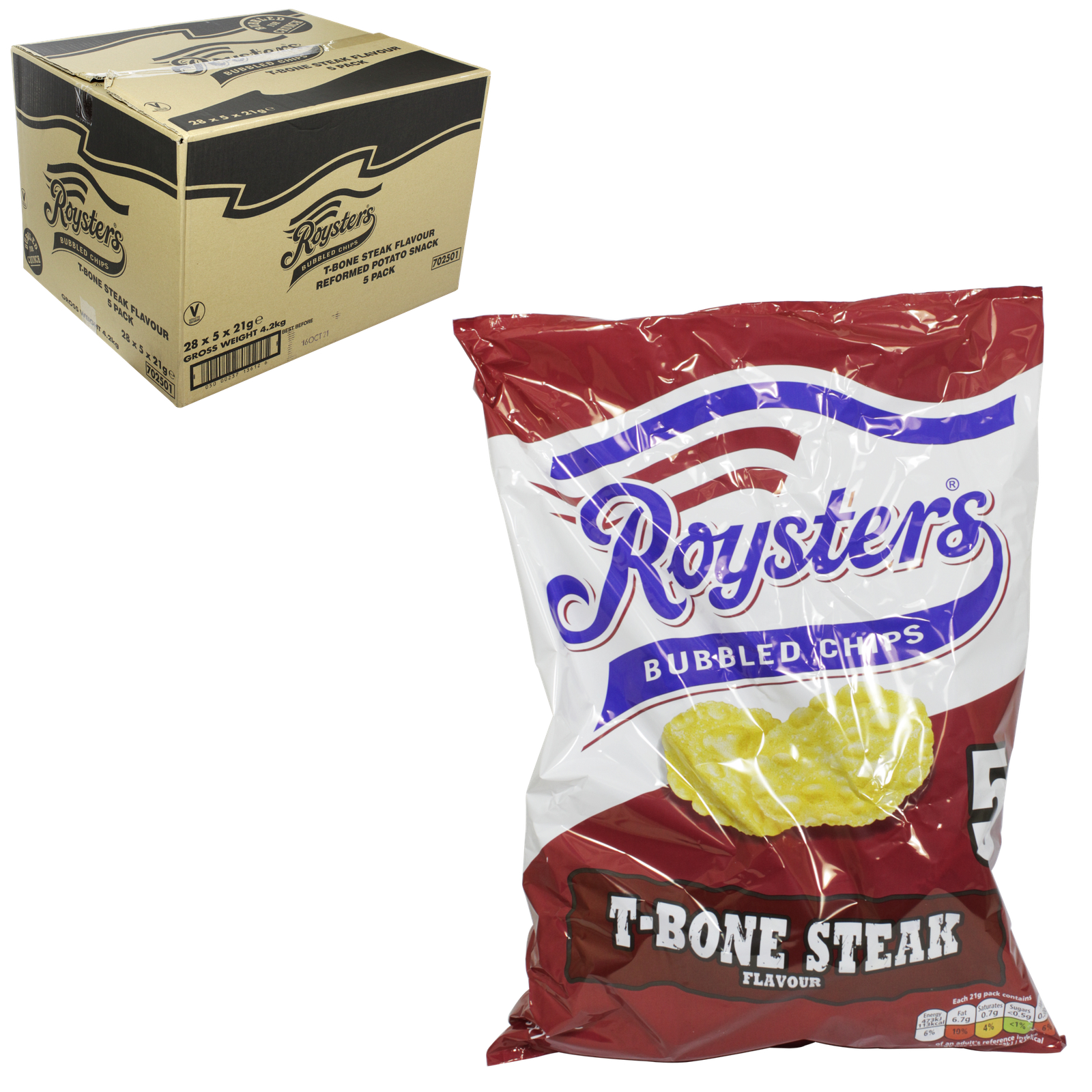 ROYSTERS T-BONE STEAK 6 PACK CHIPS X22