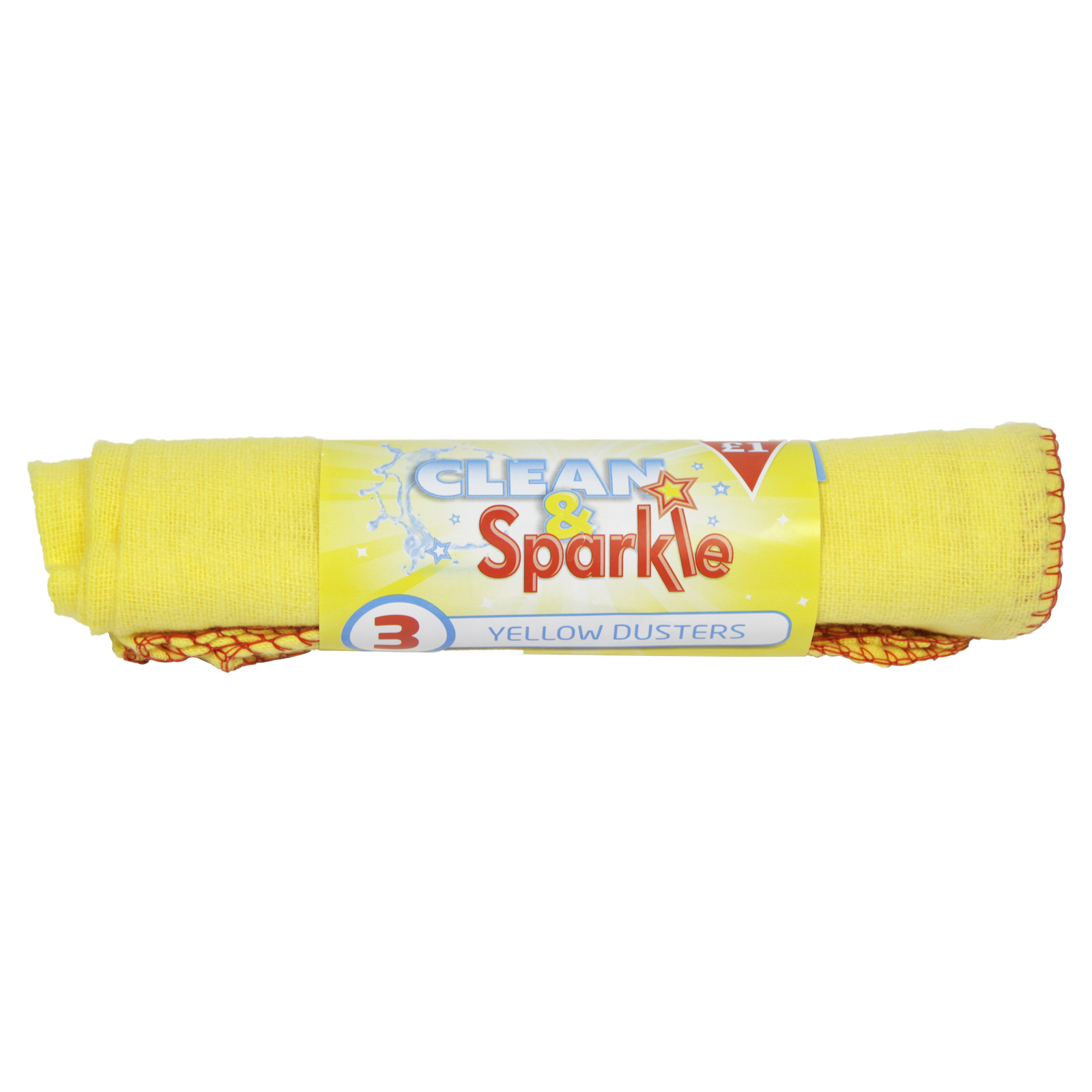 CLEAN+SPARKLE £1 YELLOW DUSTERS 5PK