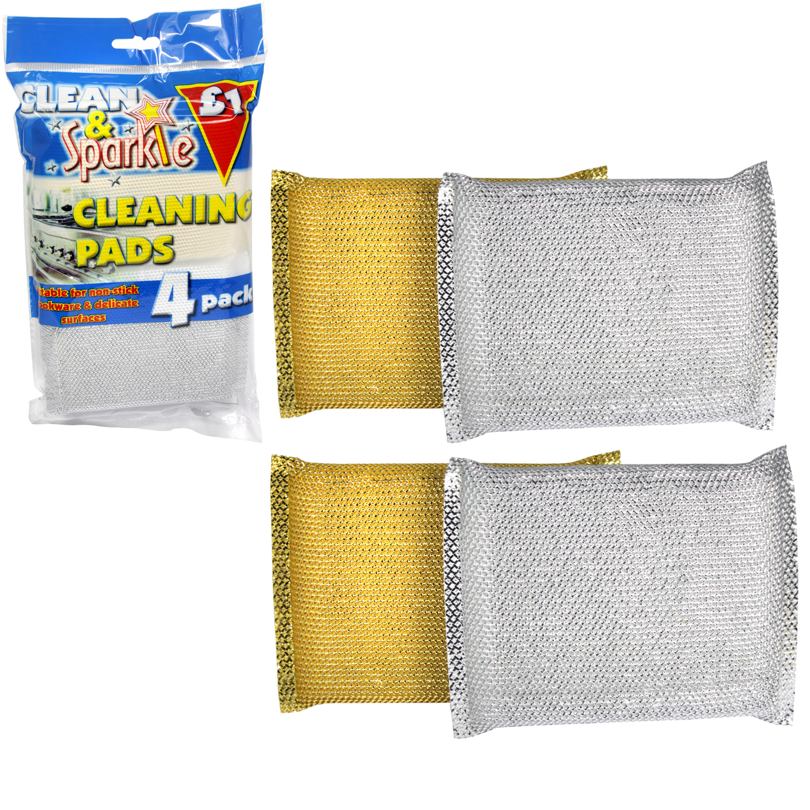 CLEAN+SPARKLE £1 CLEANING PADS 4PK