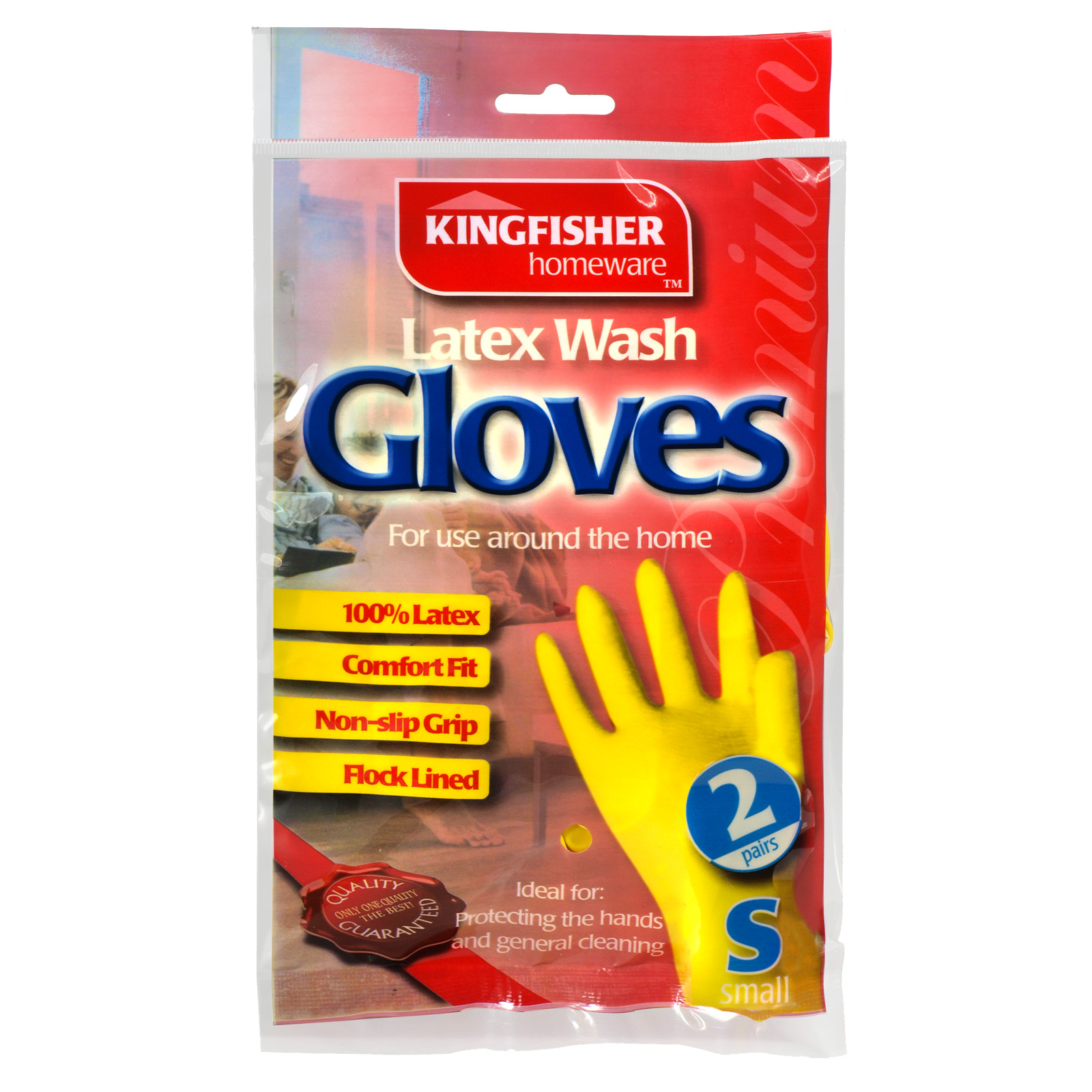 KINGFISHER LATEX H/HOLD GLOVES 2PK SMALL X6