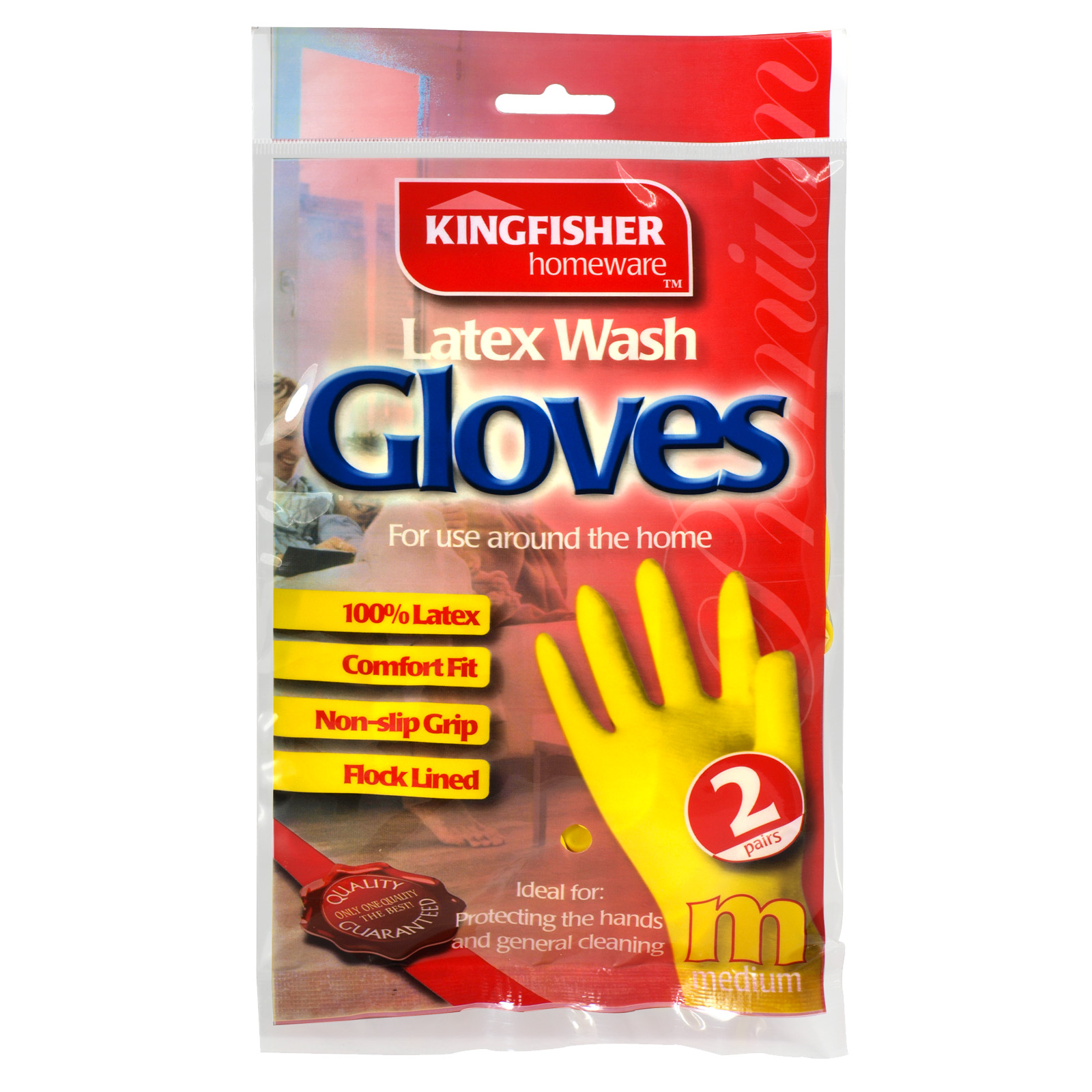 KINGFISHER LATEX H/HOLD GLOVES 2PK MEDIUM X6