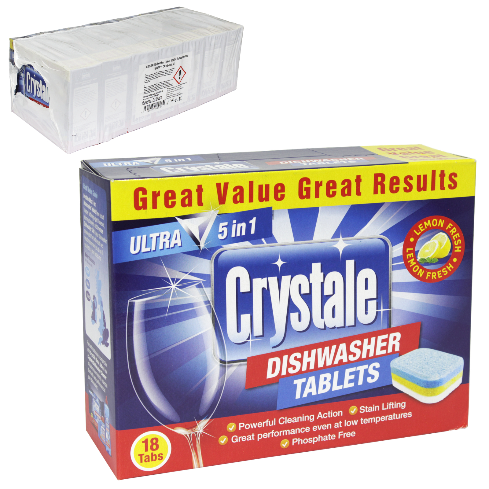 CRYSTALE DISHWASHER TABS 18'S LEMON FRESH X7