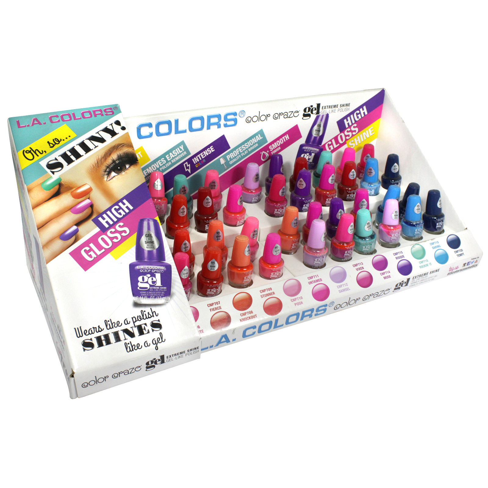LA COLORS COLOR CRAZE NAIL GEL MERCH  X48
