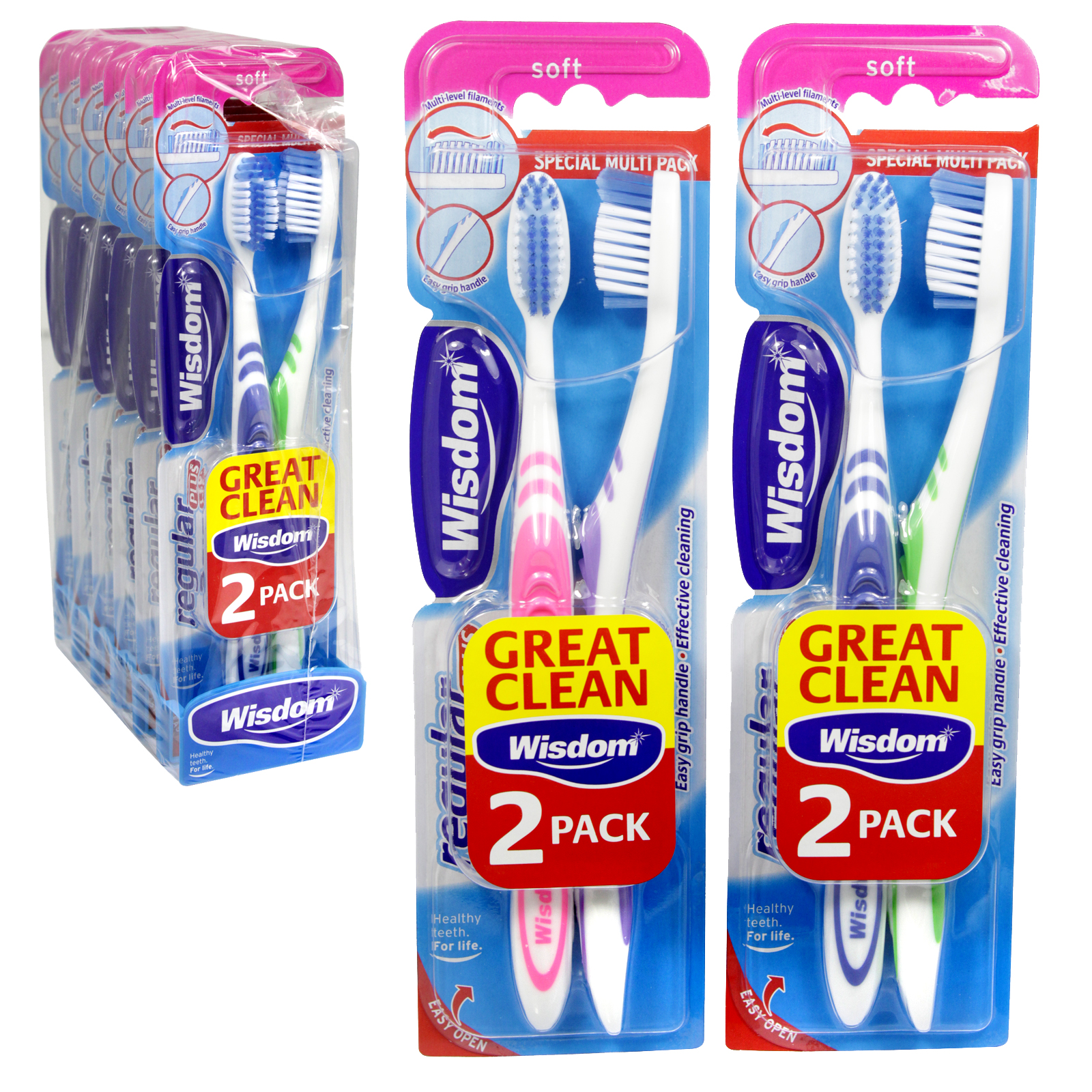 WISDOM REGULAR PLUS 2PK TOOTHBRUSHES SOFT X6