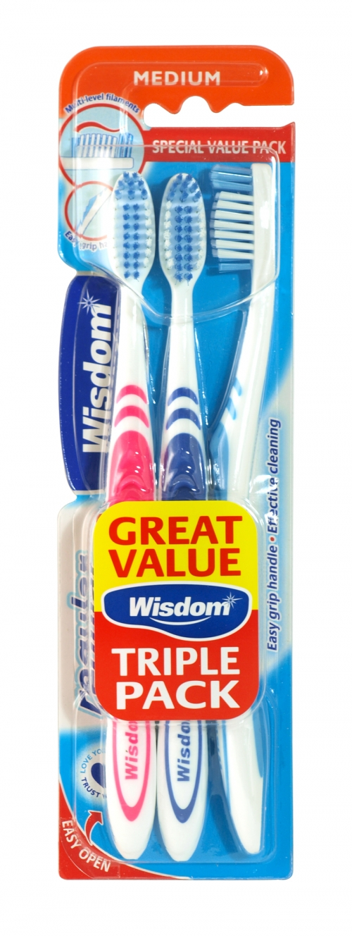 WISDOM REGULAR PLUS 3PK TOOTHBRUSH MEDIUM X6