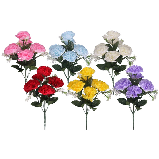 CARNATION BUSH WITH GYP 7 HEADS ASSORTED EACH