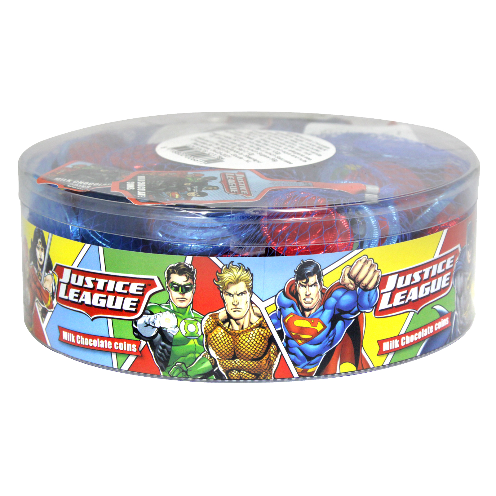 JUSTICE LEAGUE MILK CHOCOLATE COINS 75GM X 12 NETS