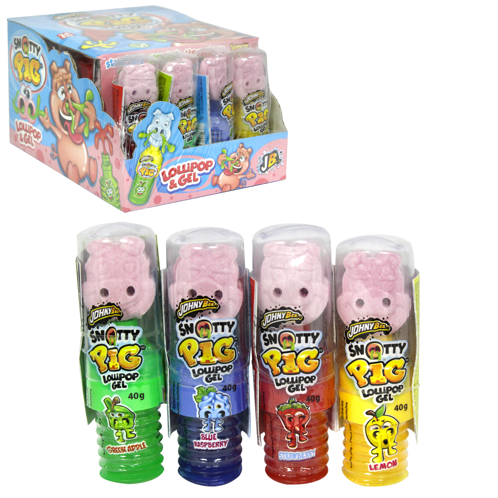 JOHNY BEE BABY SNOTTY PIG LOLLIPOP GEL ASSORTED X24