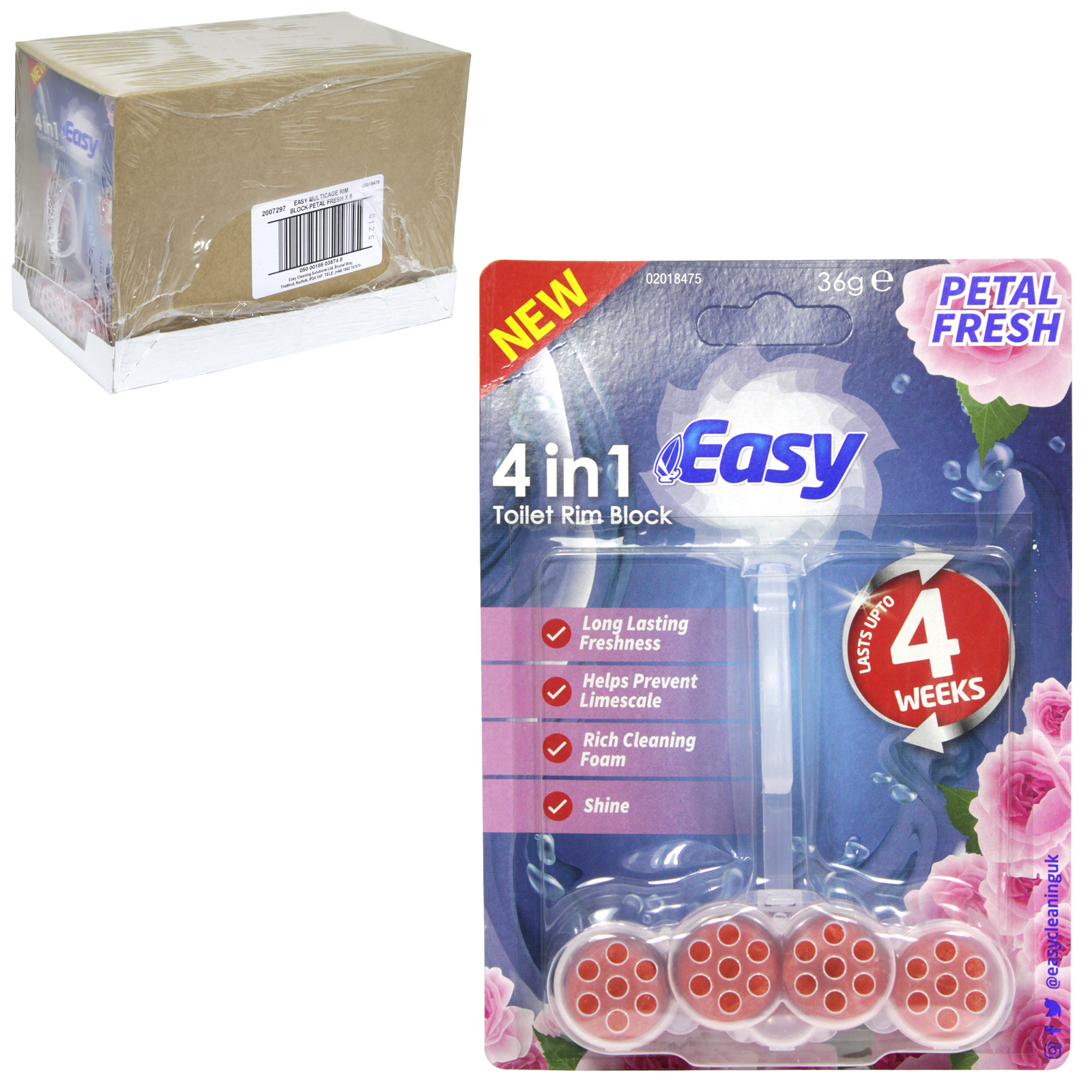 EASY 4IN1 TOILET RIM BLOCK 36GM PETAL FRESH X6