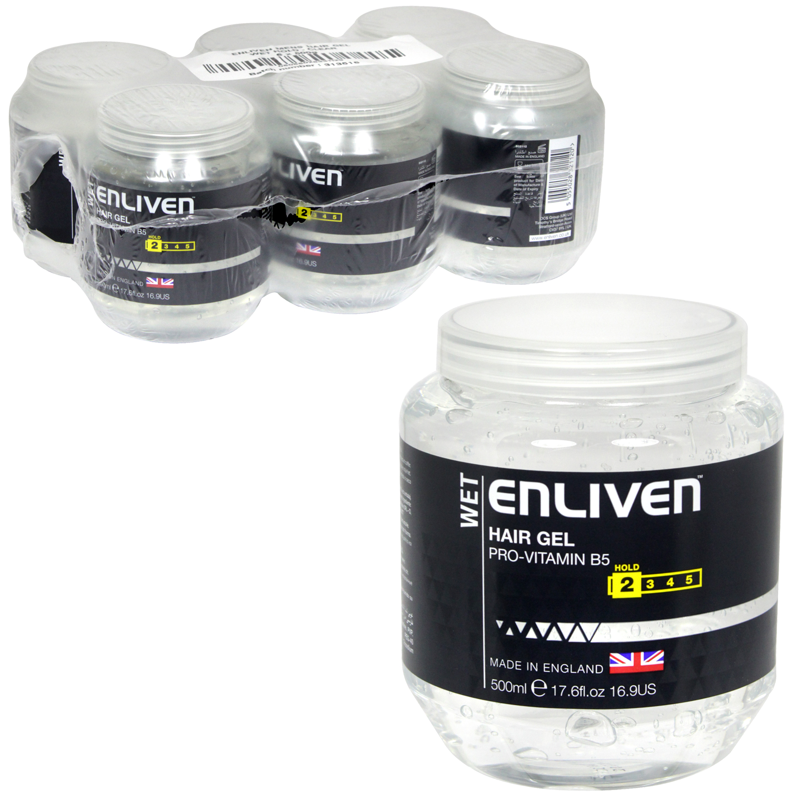ENLIVEN HAIR GEL 500ML TUB WET HOLD CLEAR X6