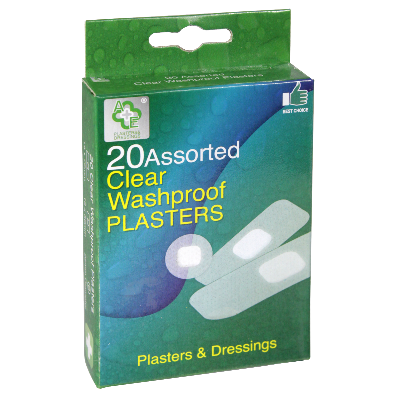 A+E PLASTERS 20'S ASS WASHPROOF CLEAR X24