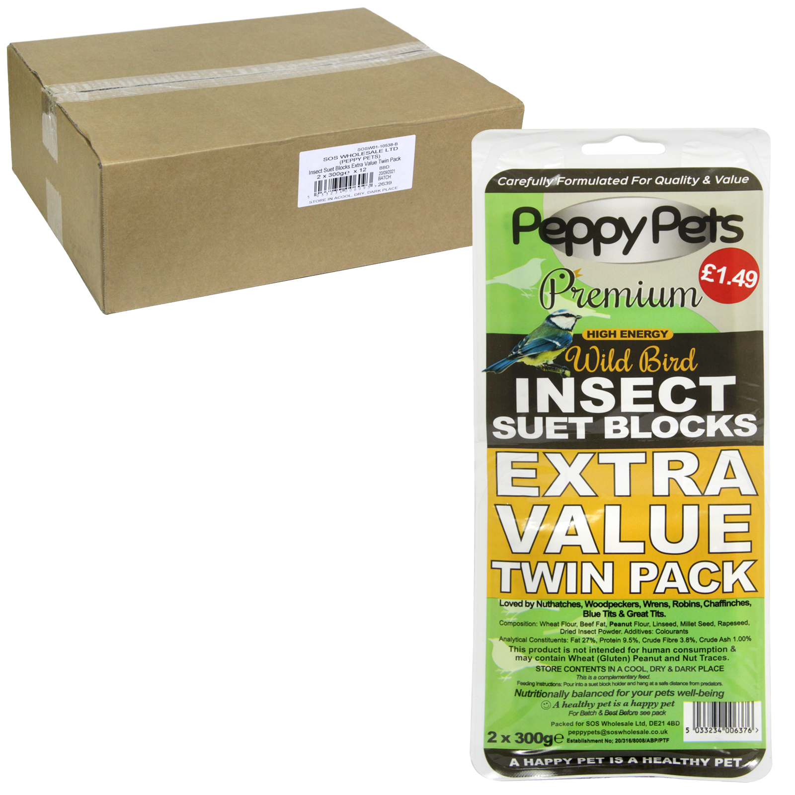 PEPPY PETS INSECT SUET BLOCKS PM1.49 VALUE TWIN PACK 2 X 300G X12