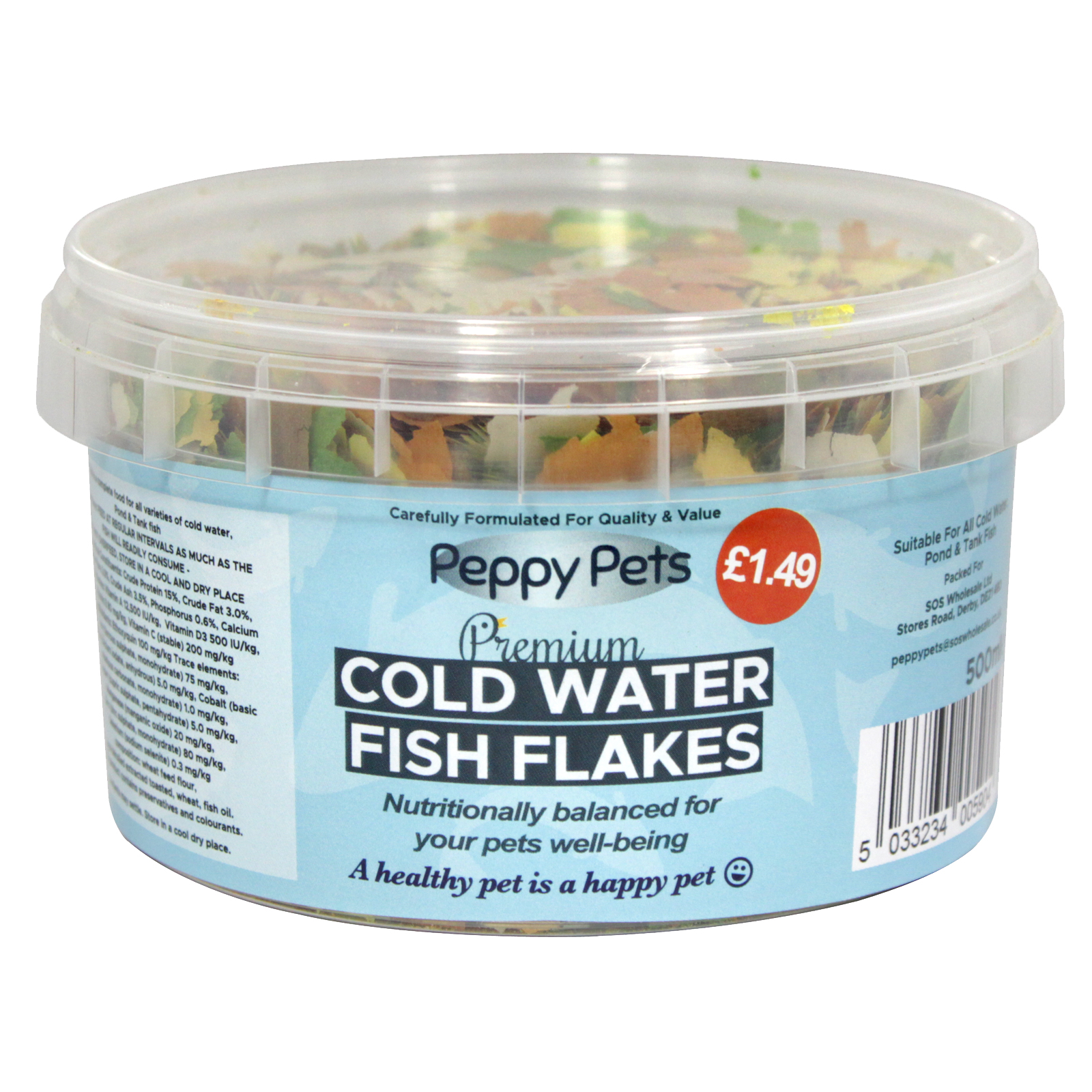 PEPPY PETS COLDWATER GOLDFISH FLAKES PM£1.49 500ML