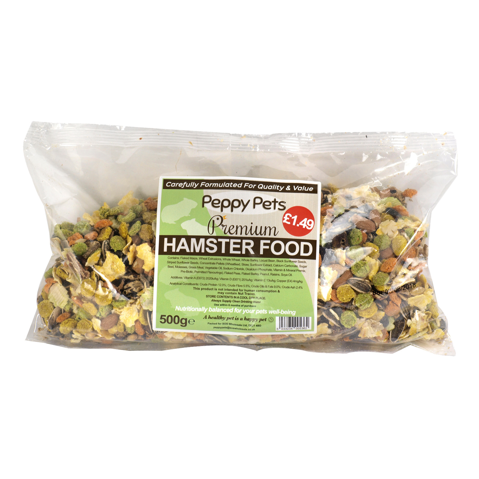 PEPPY PETS HAMSTER FOOD PM£1.49 500GM